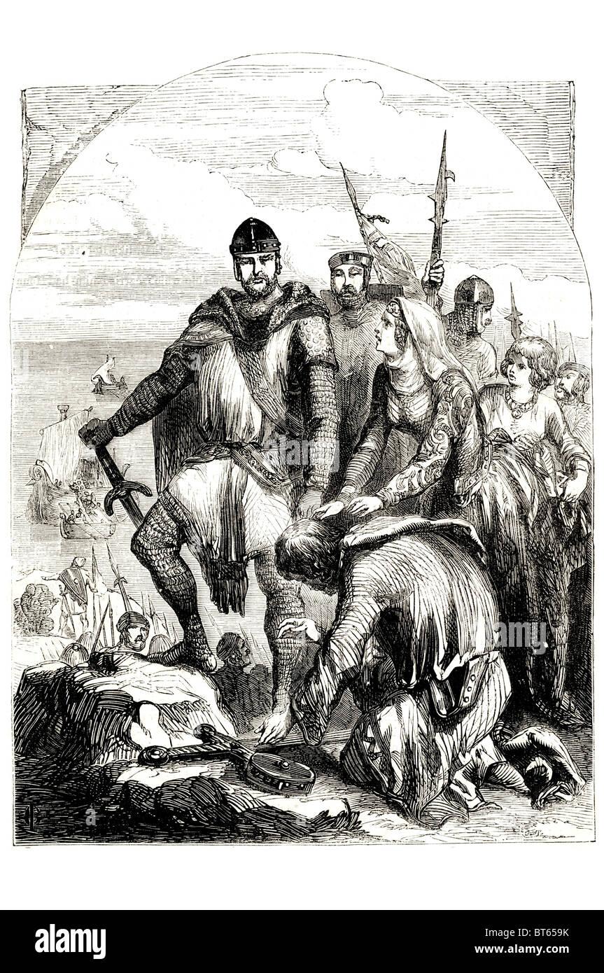 king John  john kneeling for forgiveness before brother richard 24 December 1166 – 18/19 October 1216, Lackland - Stock Image
