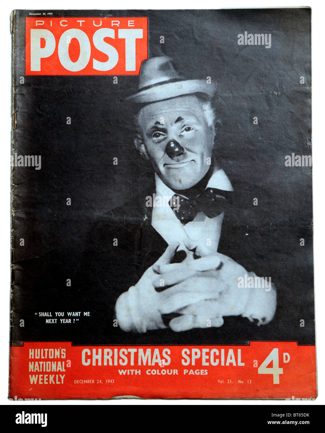 Tommy trinder clown comedian actor red nose 24 december 1943 Picture Post prominent photojournalistic magazine published - Stock Image