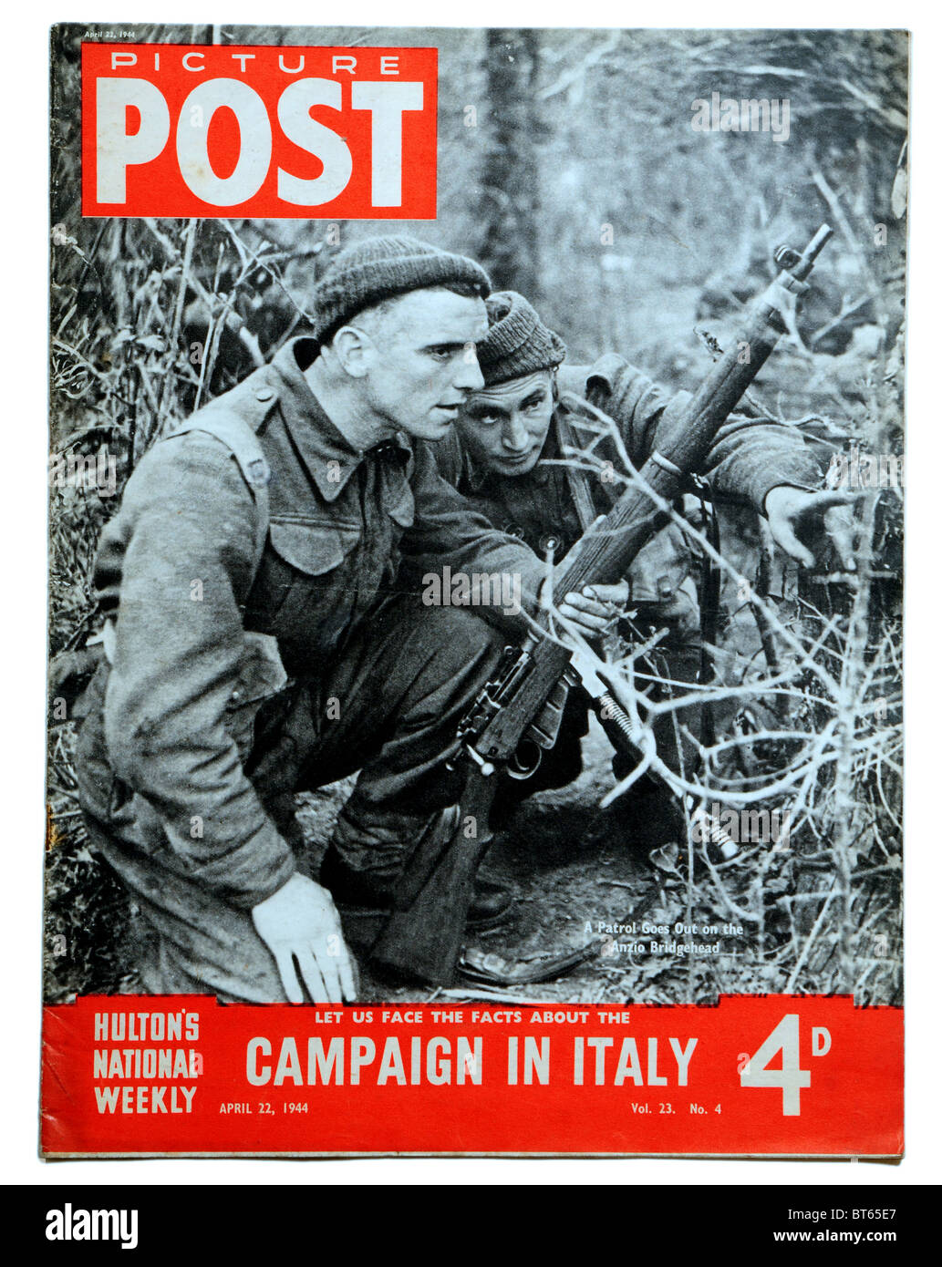 22 april 1944 army soldier rifle anzio bridgehead italy Picture Post prominent photojournalistic magazine published - Stock Image
