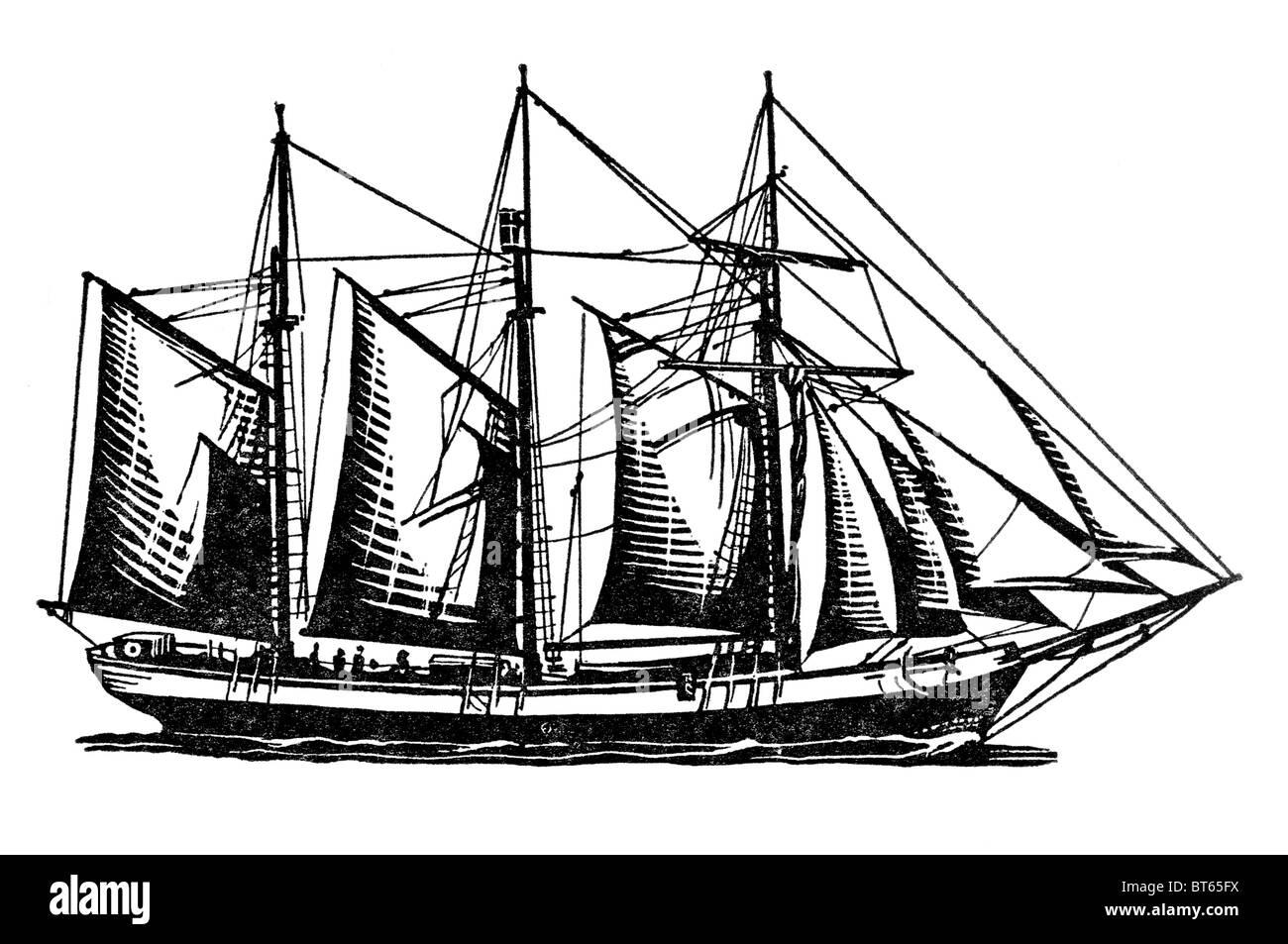 royal yacht penola sailing ship three 3 mast profile maritime ocean r y - Stock Image