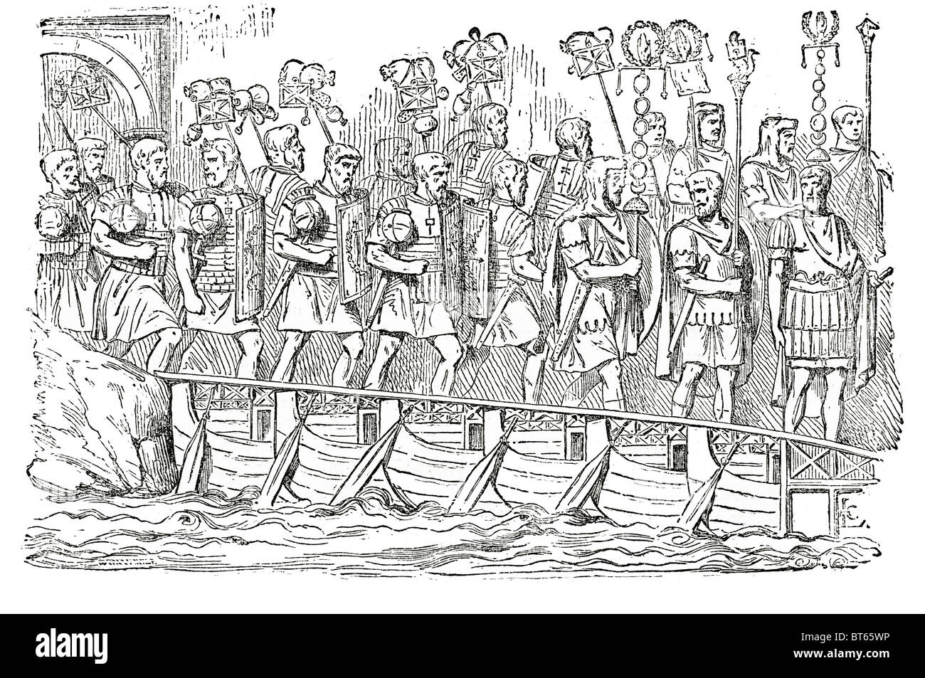 roman soldiers on bridge of boats boat antonine column A 'bridge of boats type bridge floats float water linking - Stock Image