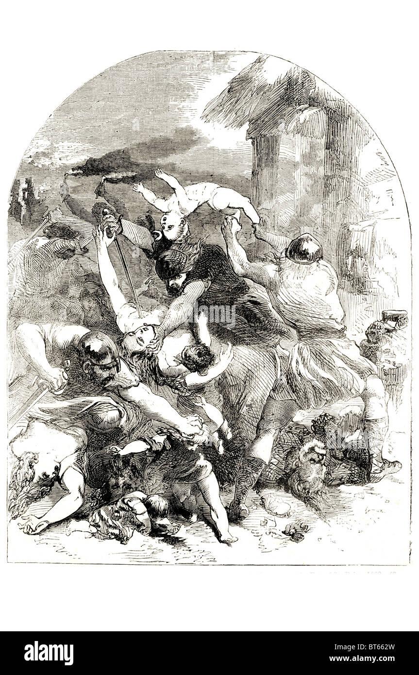 sister danish  king sweyen murdered by saxons 1002 kill death slay denmark royal family - Stock Image
