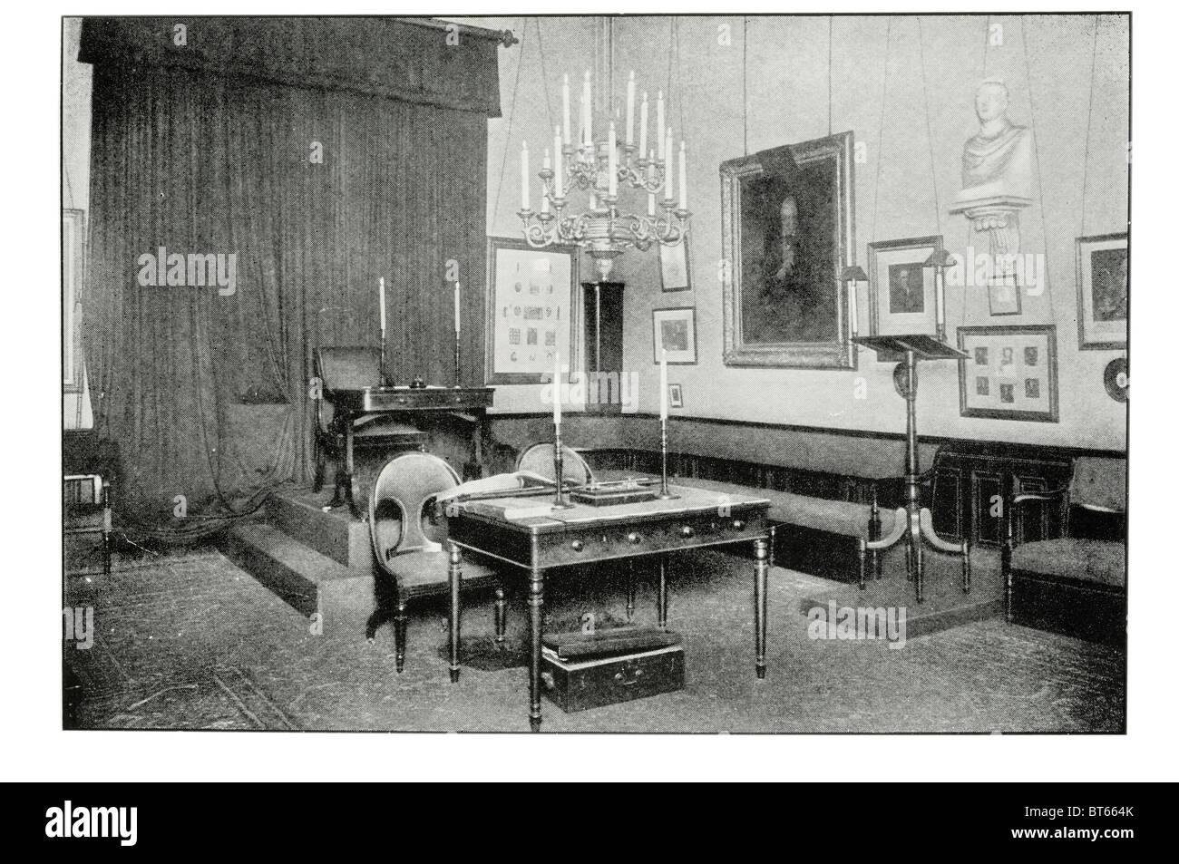 interior inside speculative society inner hall university edinburgh 1868 Scottish Enlightenment society public speaking - Stock Image