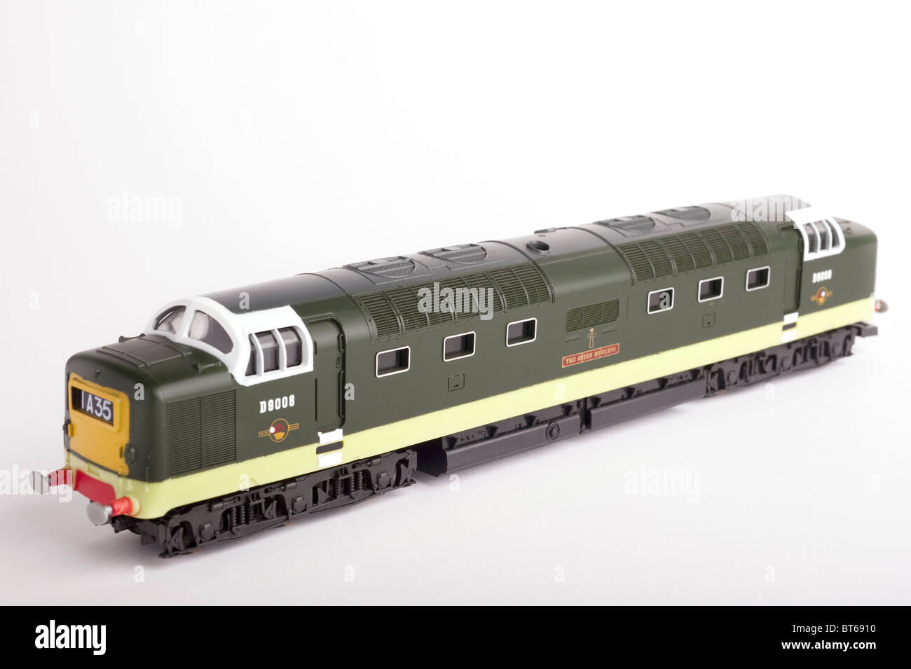 Class 55 Diesel Locomotive, BR Two Tone Green, White Background - Stock Image