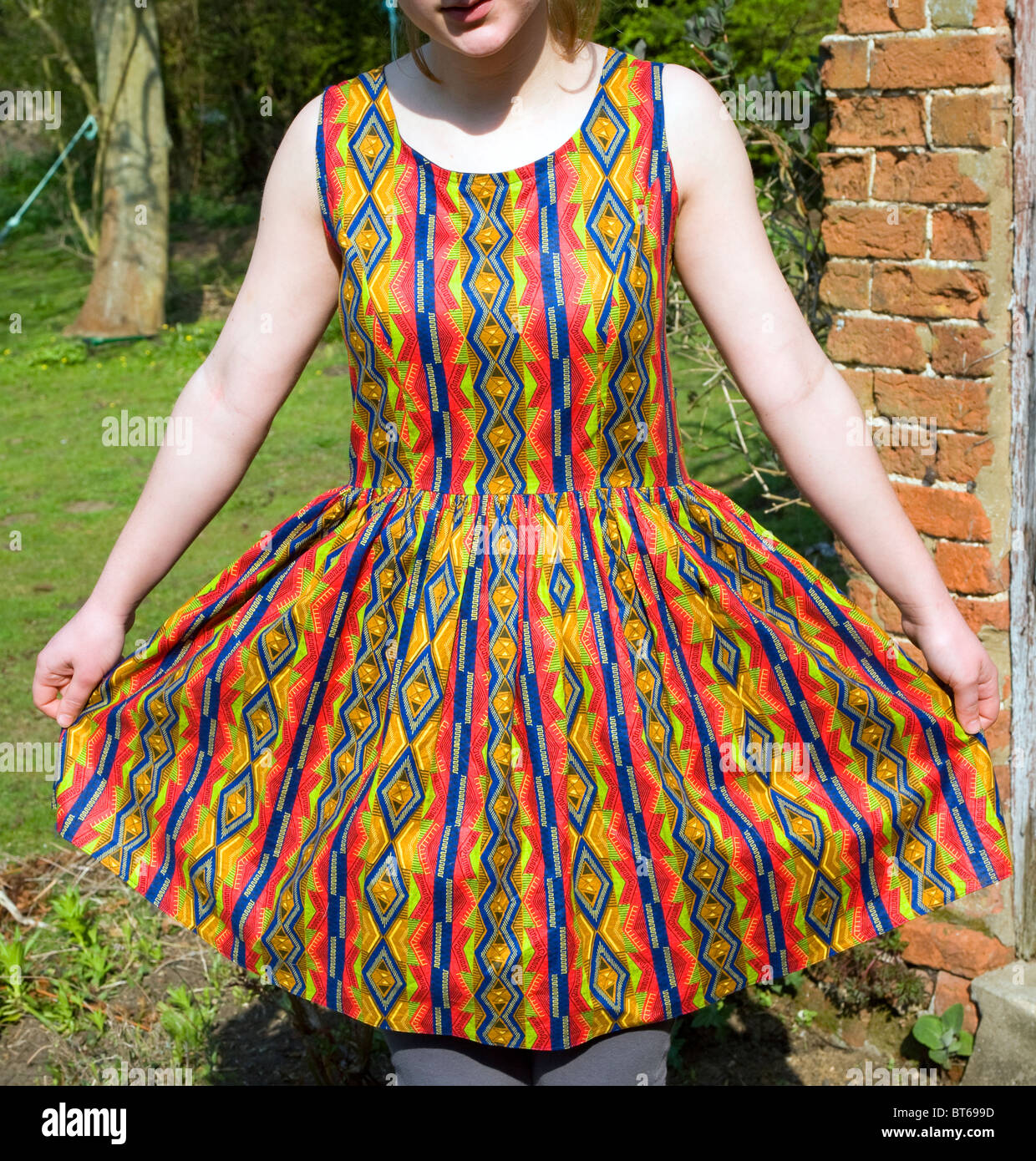 Young woman models home made dress - Stock Image