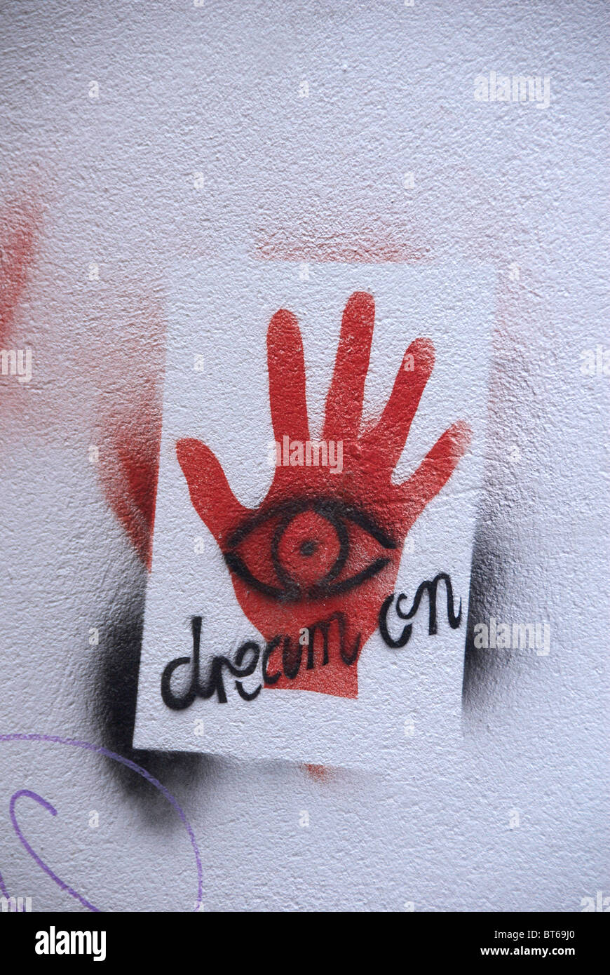 Graffiti Dream On fortune-telling sign on wall in Melbourne South Australia - Stock Image