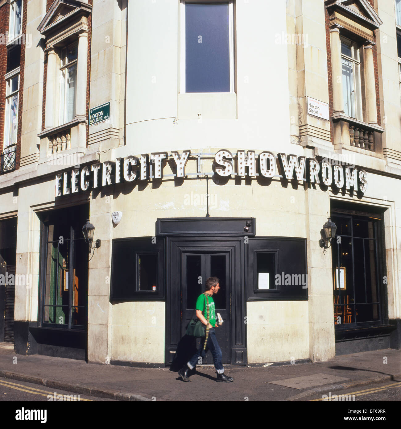 Electricity Showrooms building Hoxton Square, Hackney East End, London UK - Stock Image