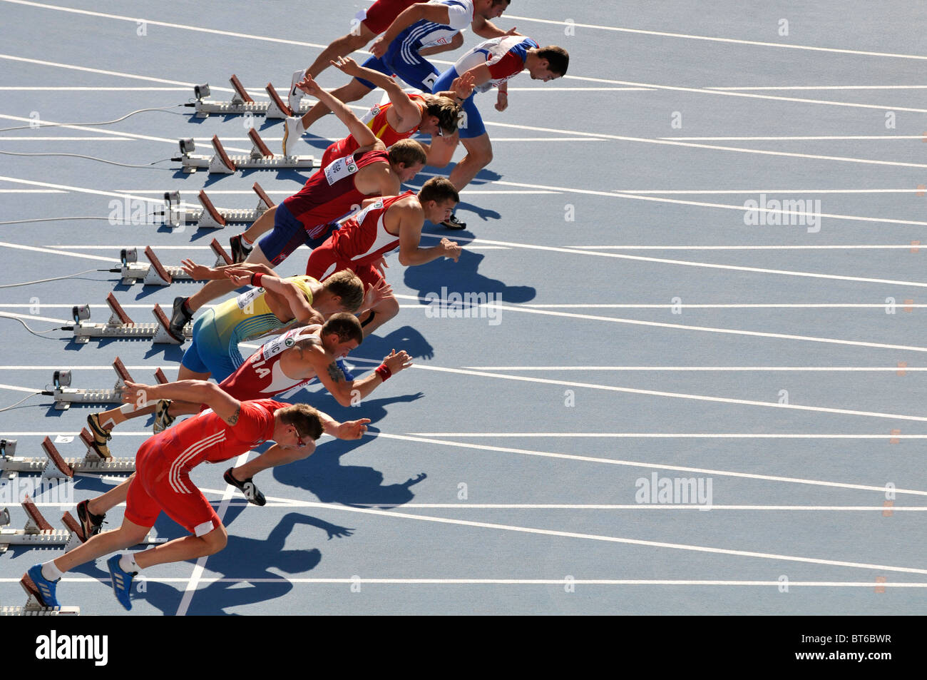 start of male sprinters race during European Athletics Championships 2010 - Stock Image