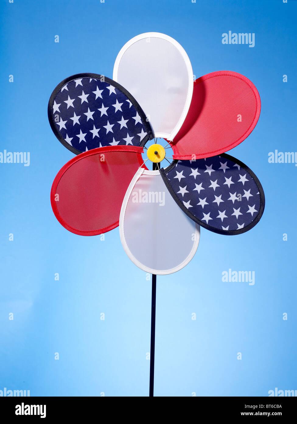 red white blue pinwheel - Stock Image