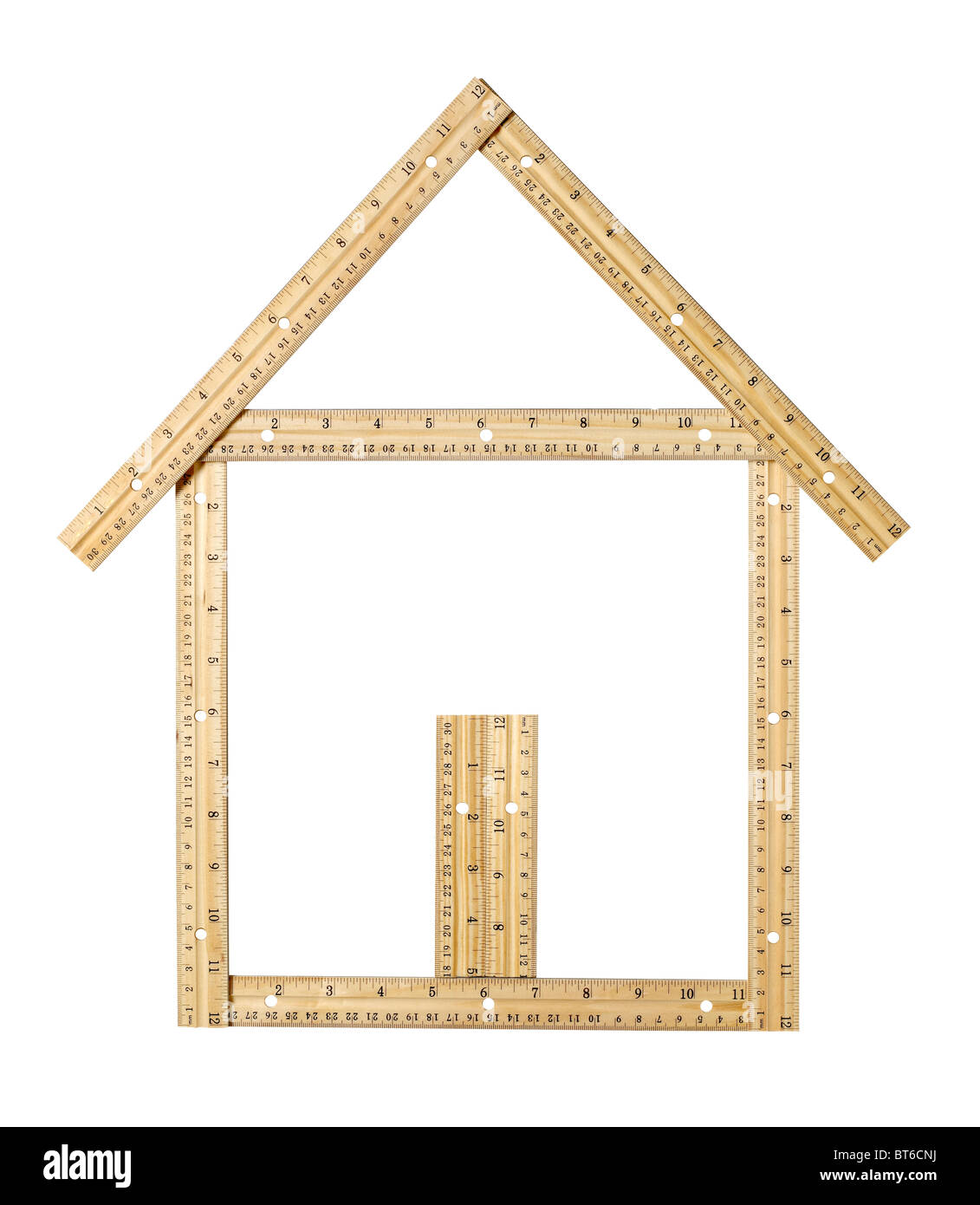 House made of wood rulers - Stock Image