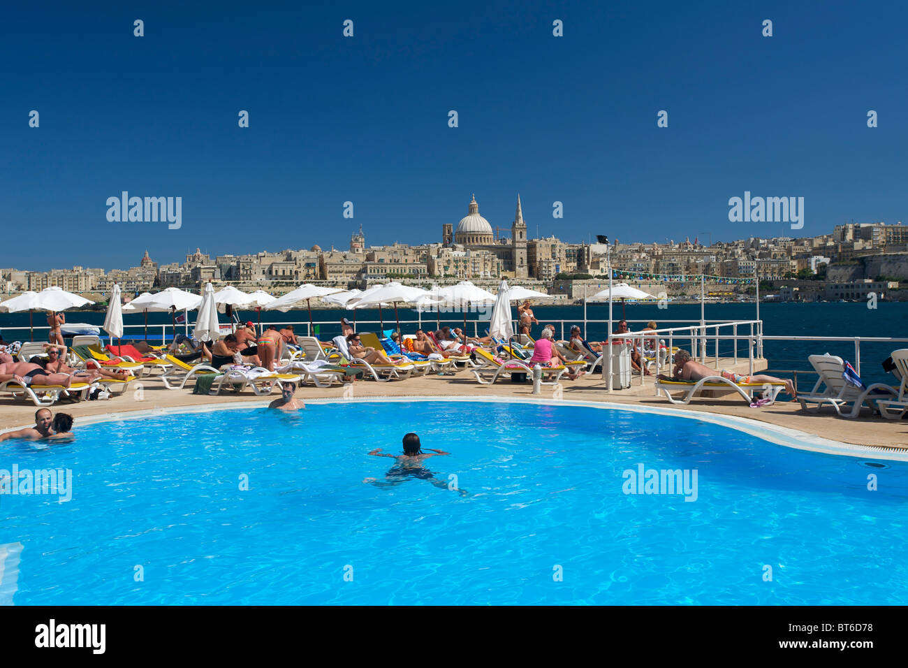 Hotel swimming pool in Sliema, Valletta, Malta - Stock Image