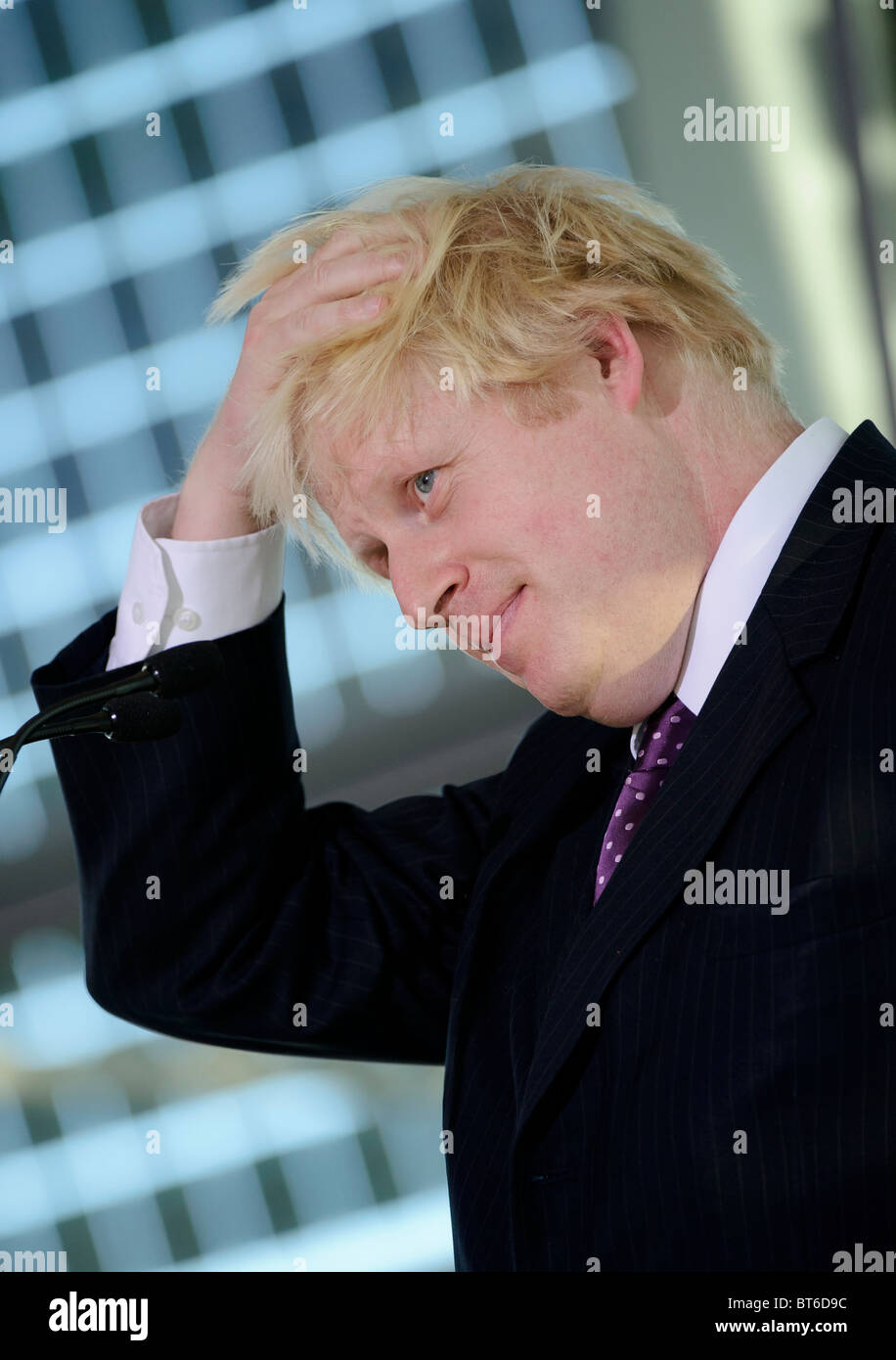 London Mayor Boris Johnson, responds to the Government's Comprehensive Spending Review, City Hall, London, 20th - Stock Image