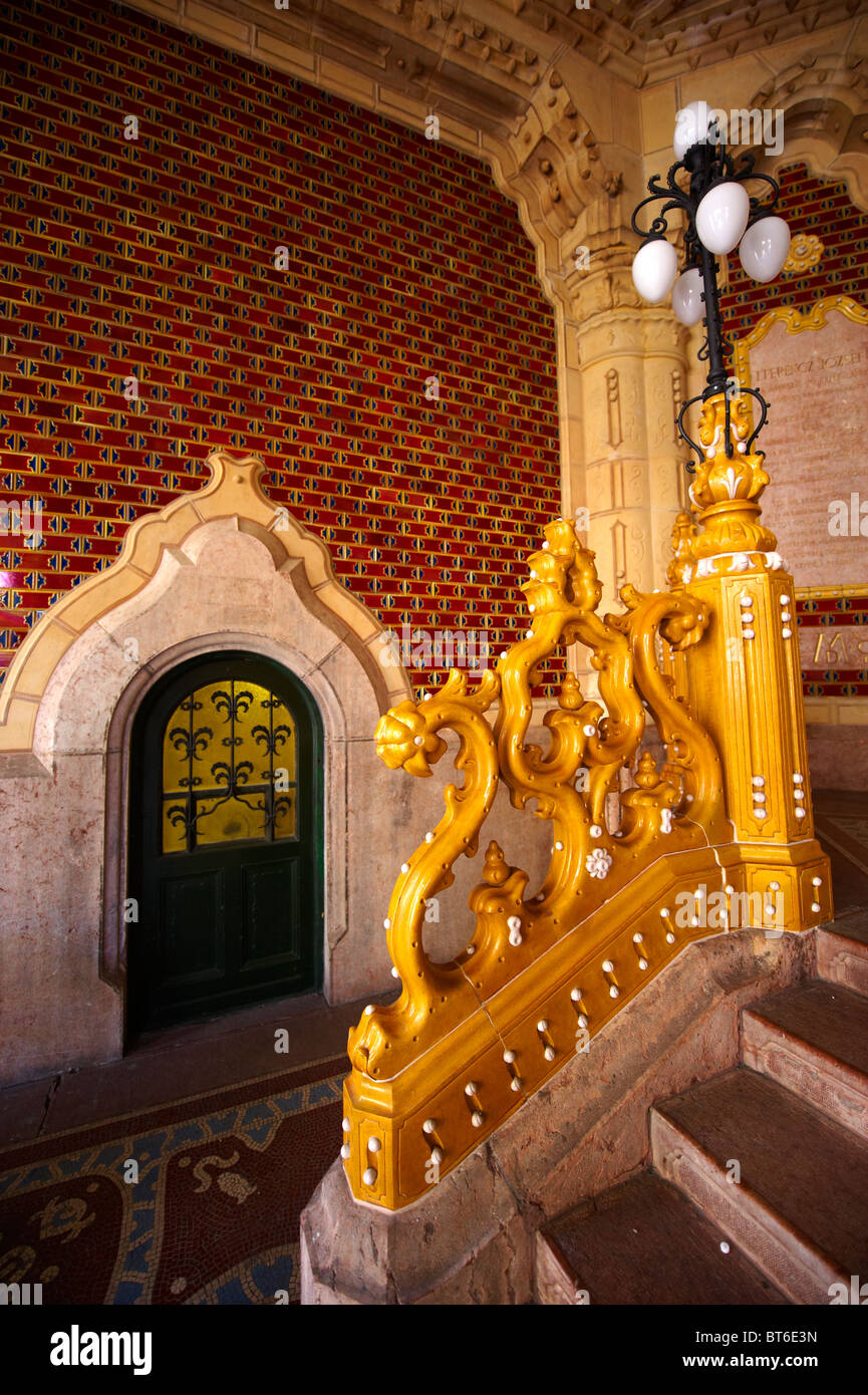 The entrance hall of Art Nouveau Museum of Applied Arts with Zolnay tiles & ceramic hand rails. Budapest Hungary Stock Photo