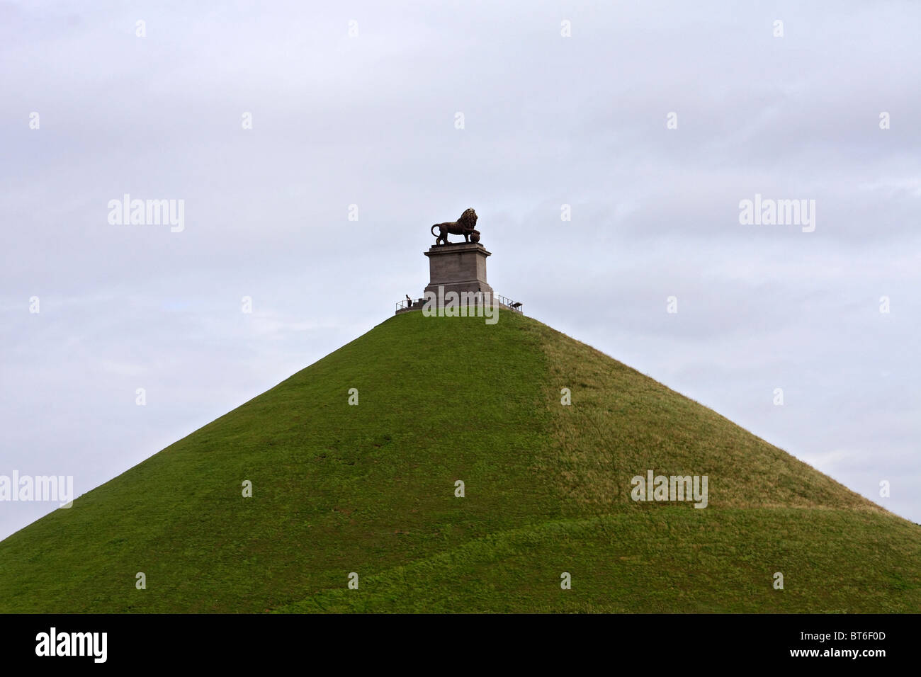 The Lion's Mound or Butte du Lion is a large conical artificial hill on the battlefield of Waterloo Belgium, - Stock Image