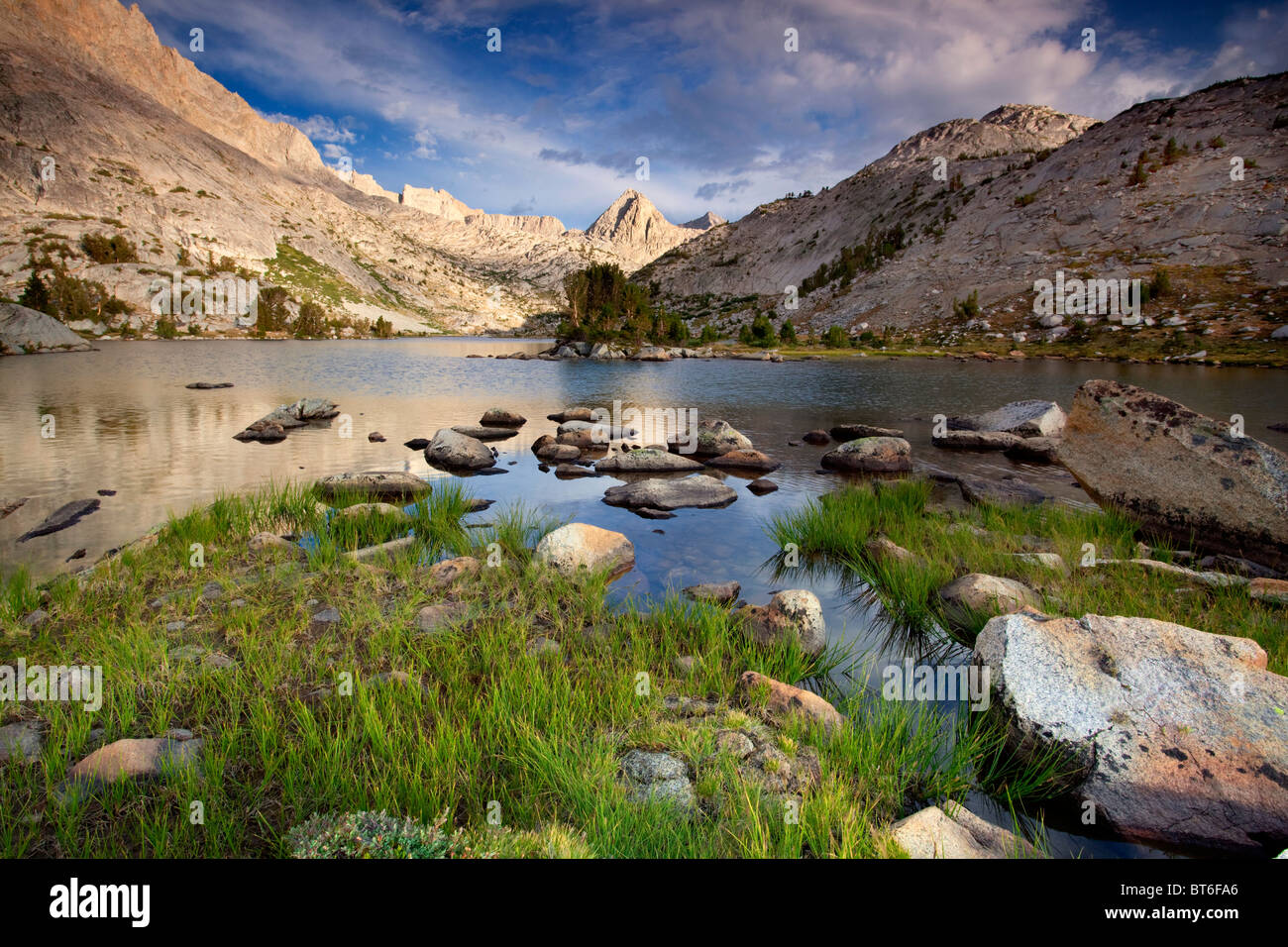 Clouds over Evolution Lake, John Muir Wilderness, Sequoia Kings Canyon National Park, California - Stock Image