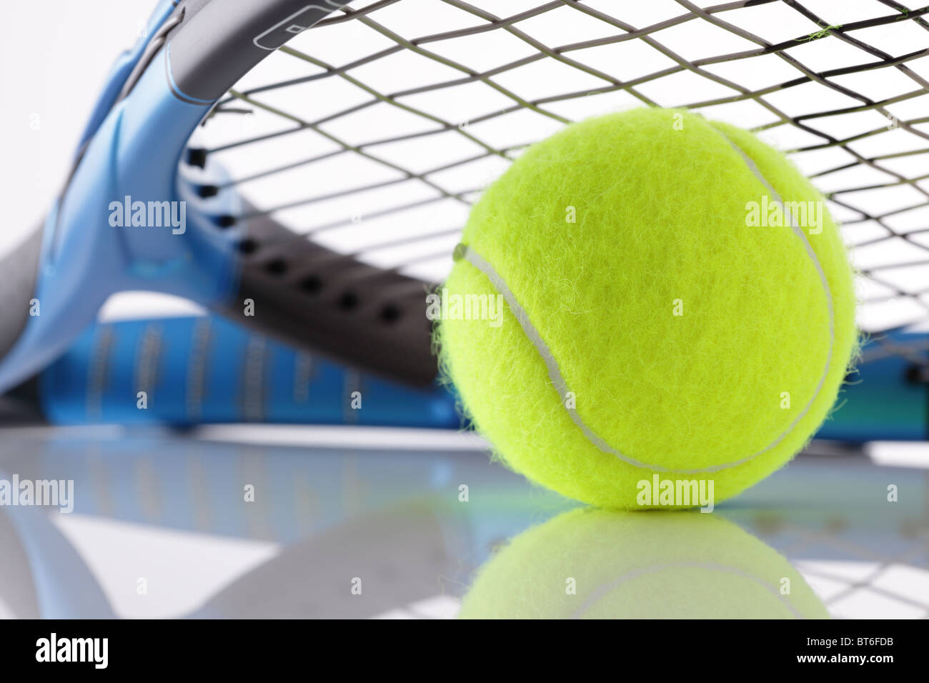 Tennis racket and ball - Stock Image
