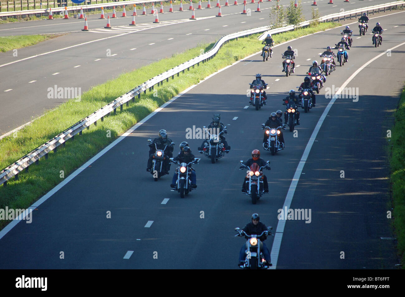 Harley Davidsons and other bikes as part of the Hoggin the Bridge 2010 event - Stock Image