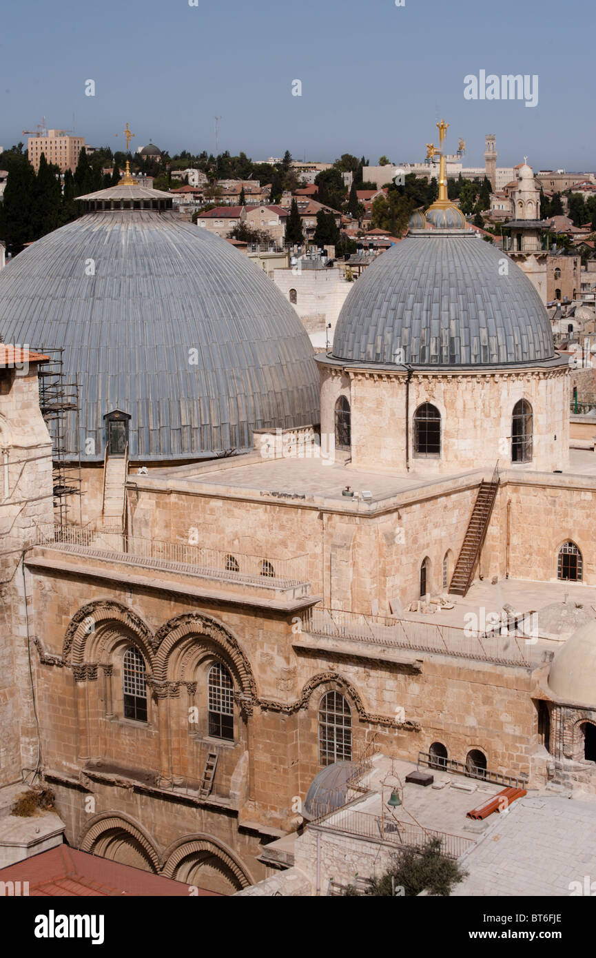 Jerusalem's Church of the Holy Sepulchre, traditional site of Jesus' crucifixion, burial, and resurrection. - Stock Image