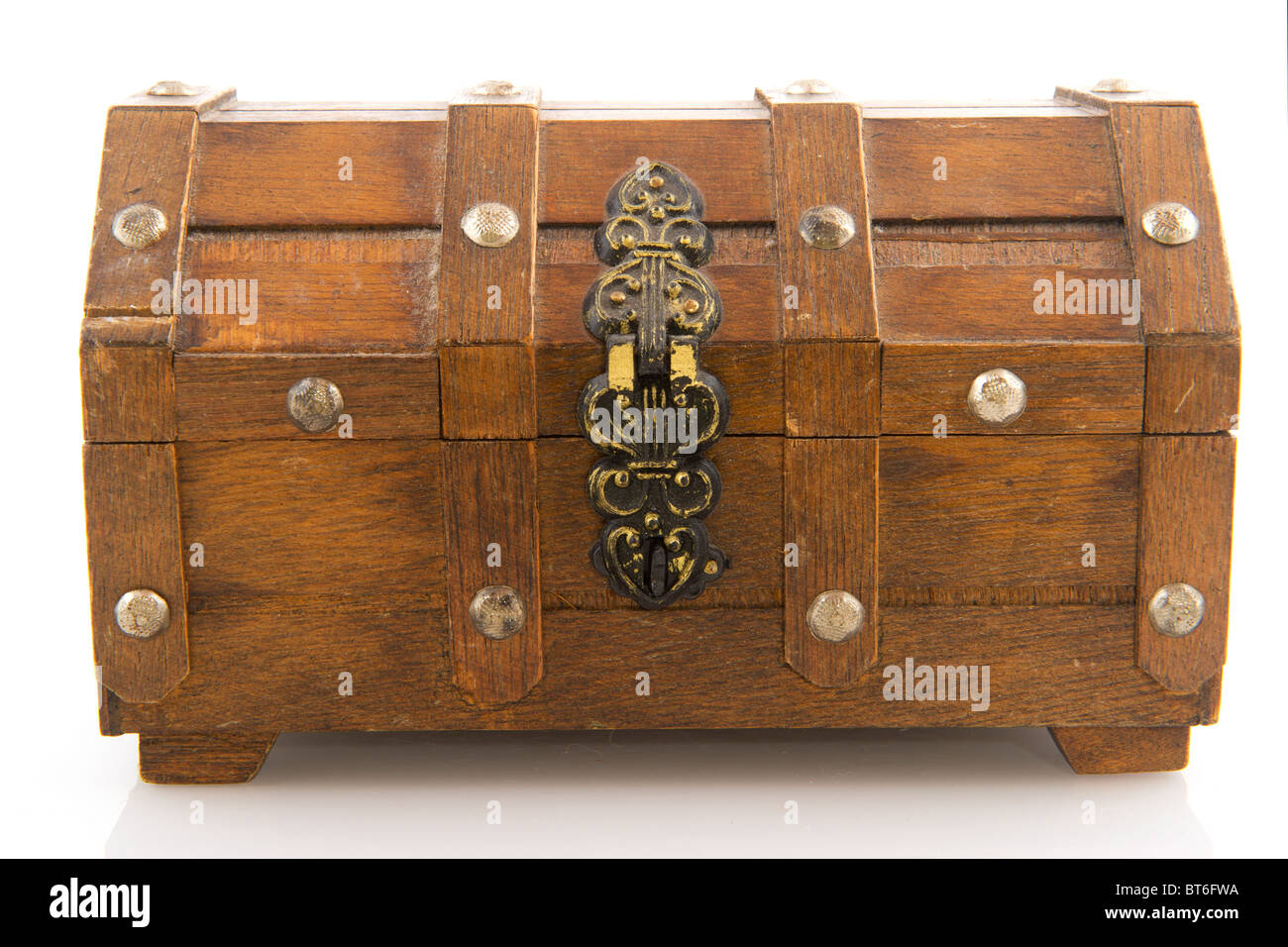 closed wooden treasure chest with lock isolated over white stock