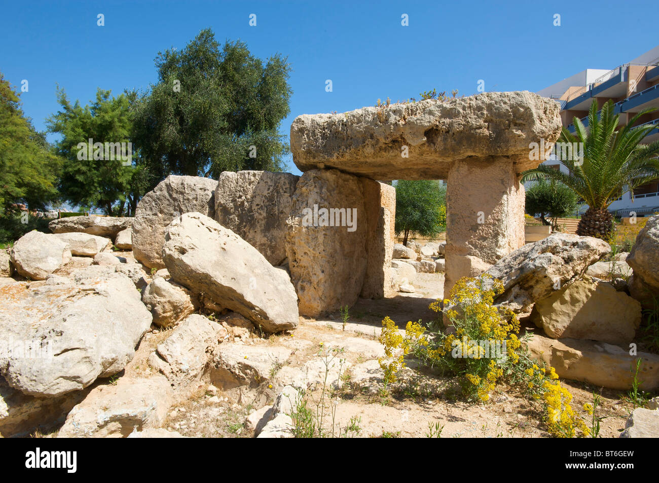 Megalithic tomb in St Pauls Bay, Malta - Stock Image