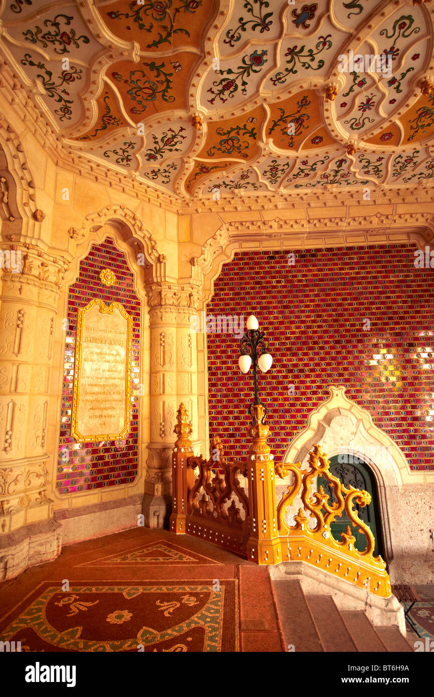 The entrance hall of Art Nouveau Museum of Applied Arts with Zolnay tiles & ceramic hand rails. Budapest Hungary - Stock Image