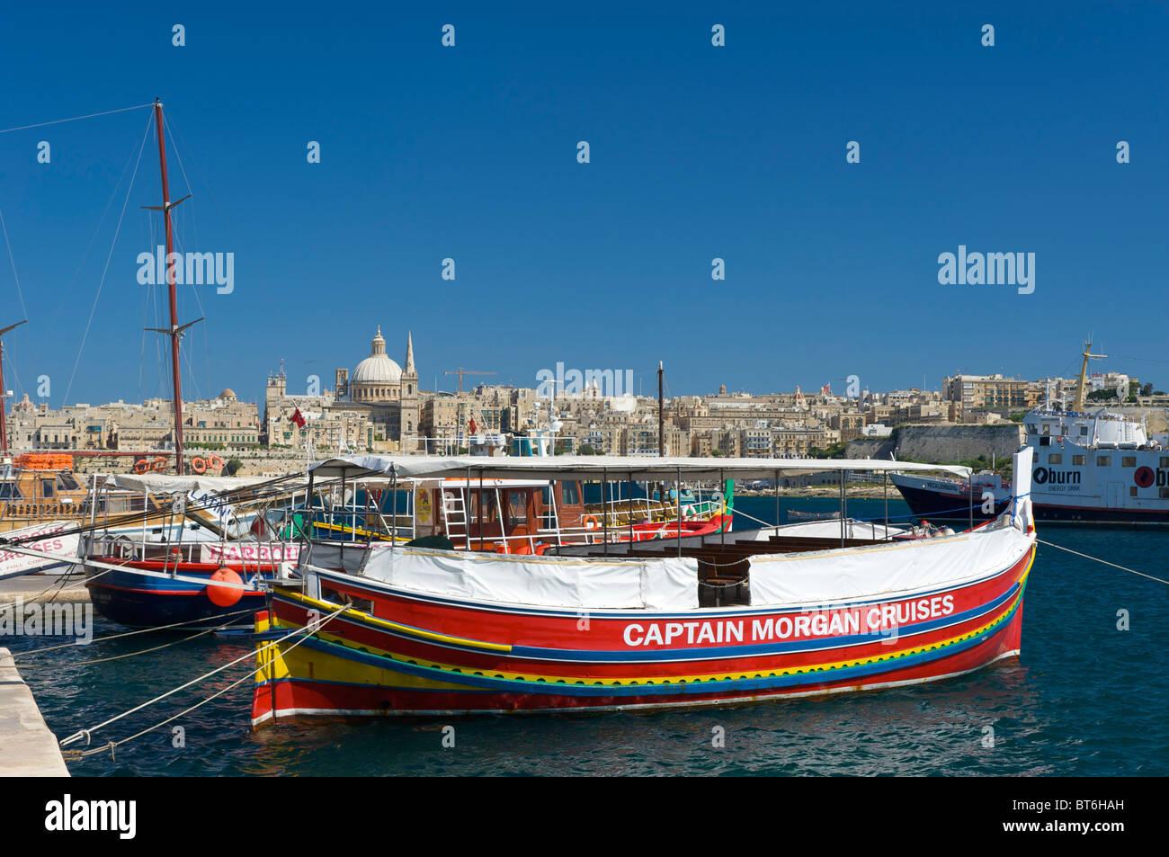 Touristic boats in Sliema, Valletta, Malta - Stock Image