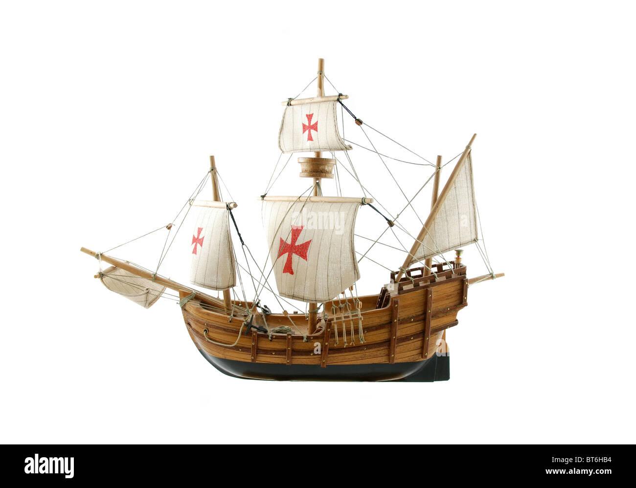 Wooden ship 'santa maria' isolated on white background - Stock Image