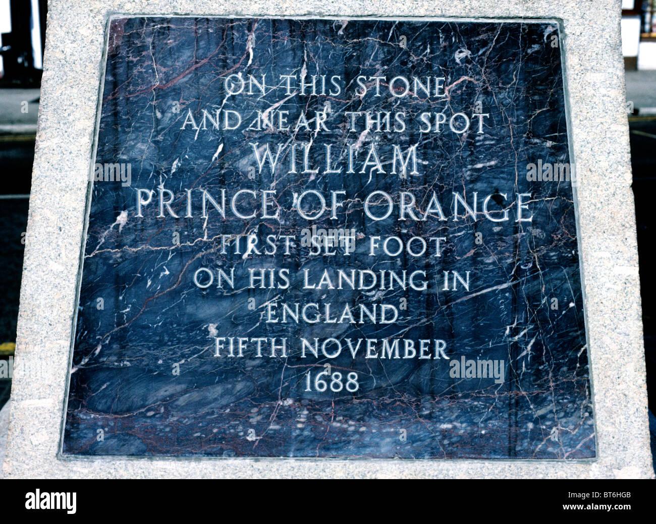 Brixham Devon, inscription King William 3rd statue commemorating invasion of 1688 William of Orange English kings - Stock Image
