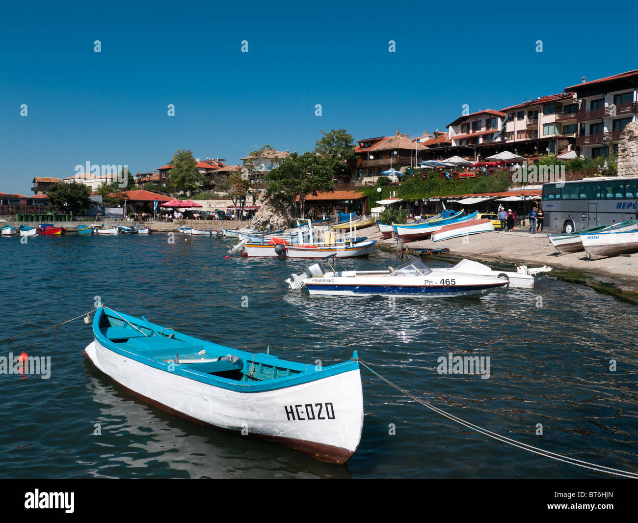 Boats in the Harbour of Nessebar, Bulgaria, Balkans - Stock Image