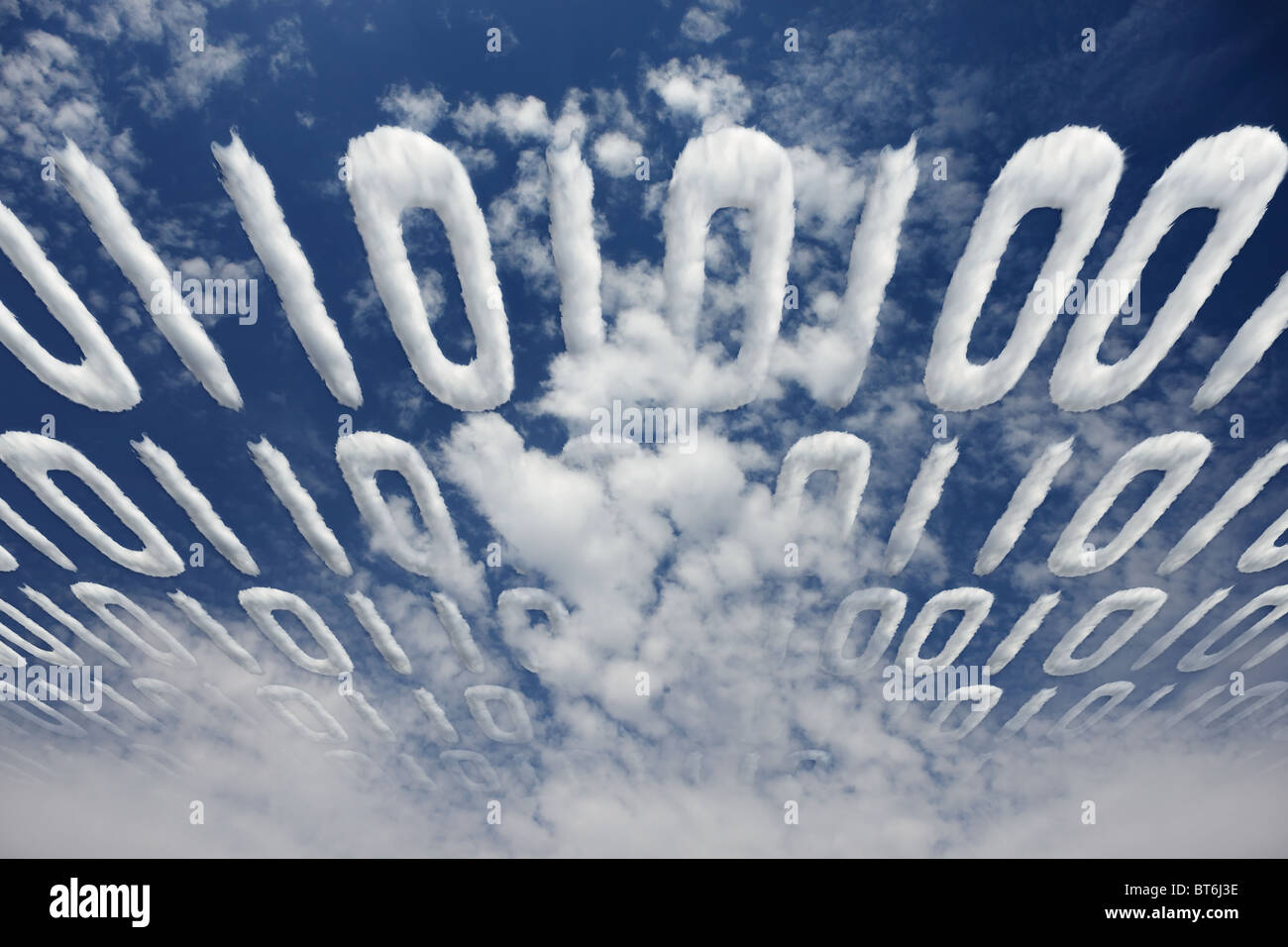 Cloudy binary code transmitted in sky - concept of electronic communication and information - Stock Image