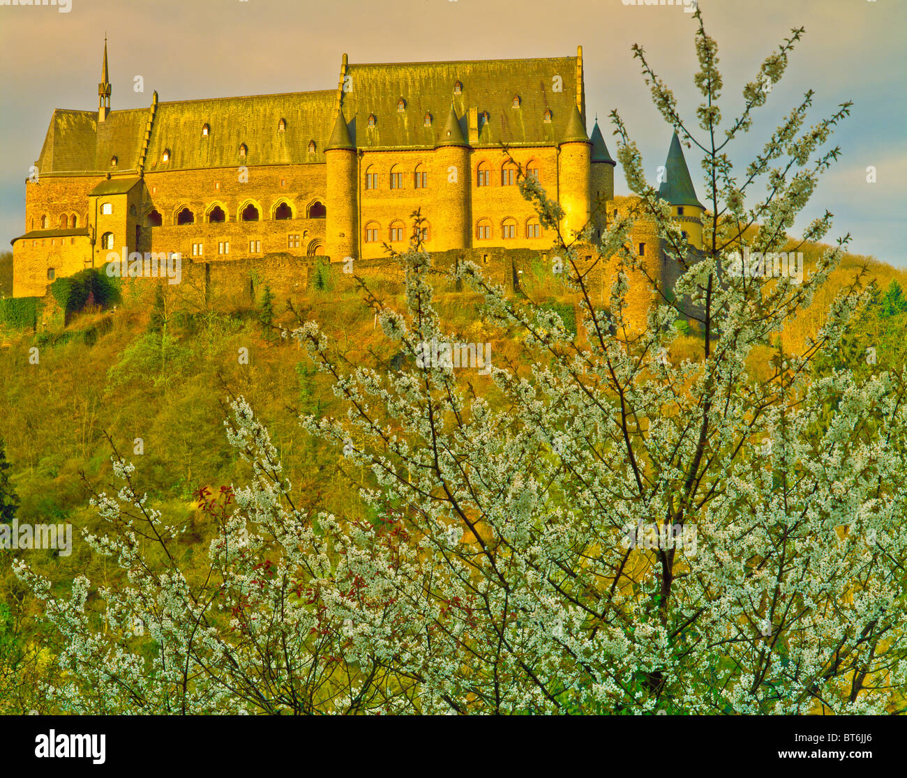 Castle at Vianden, Ardennes Mountains, Luxembourg, home of Victor Hugo, ninth century fortress, afternoon, April - Stock Image