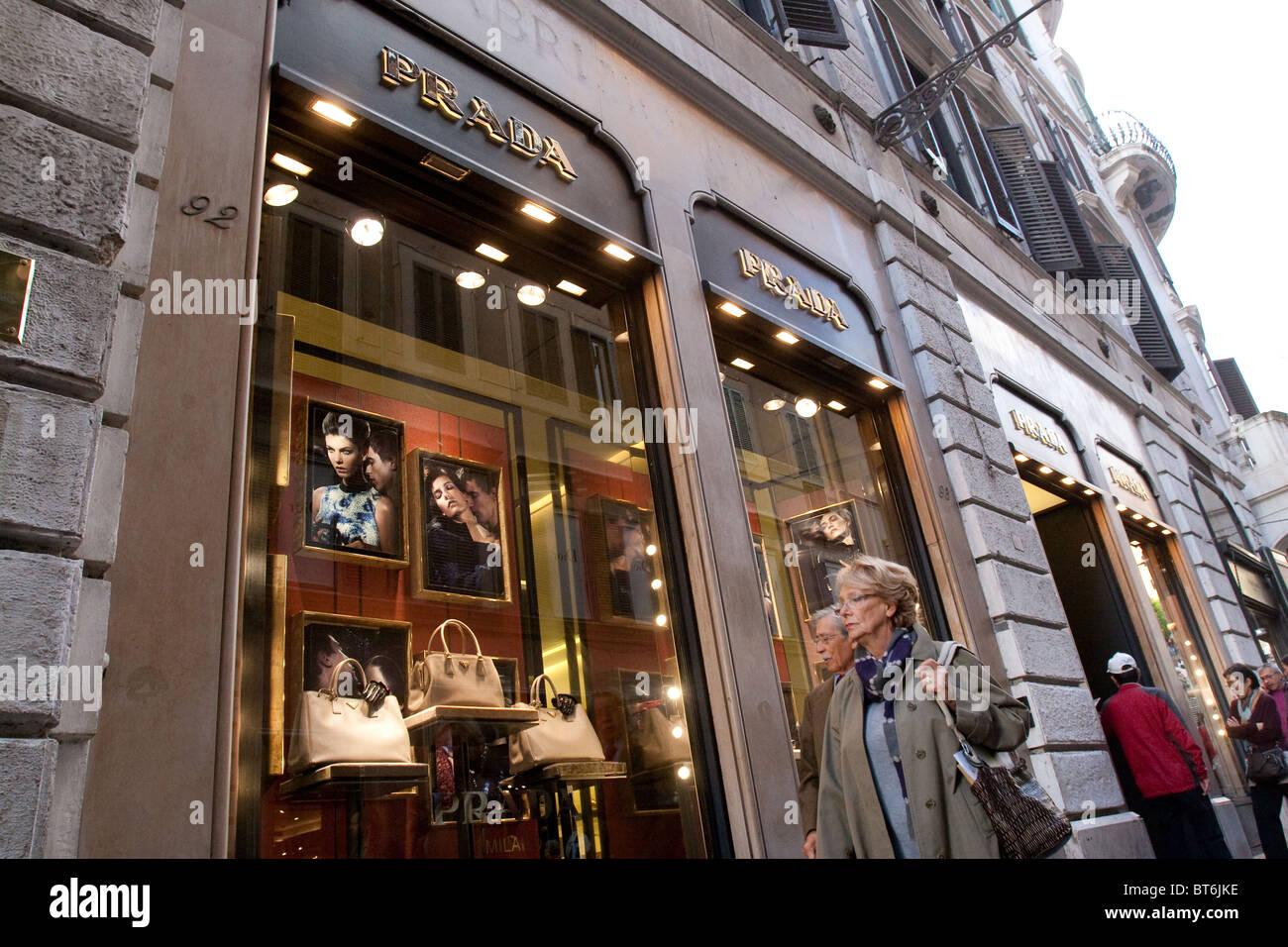 via dei Condotti Prada fashion shop shopping Rome street store shop window  entrance fashion accessories - 7e92daf5df4