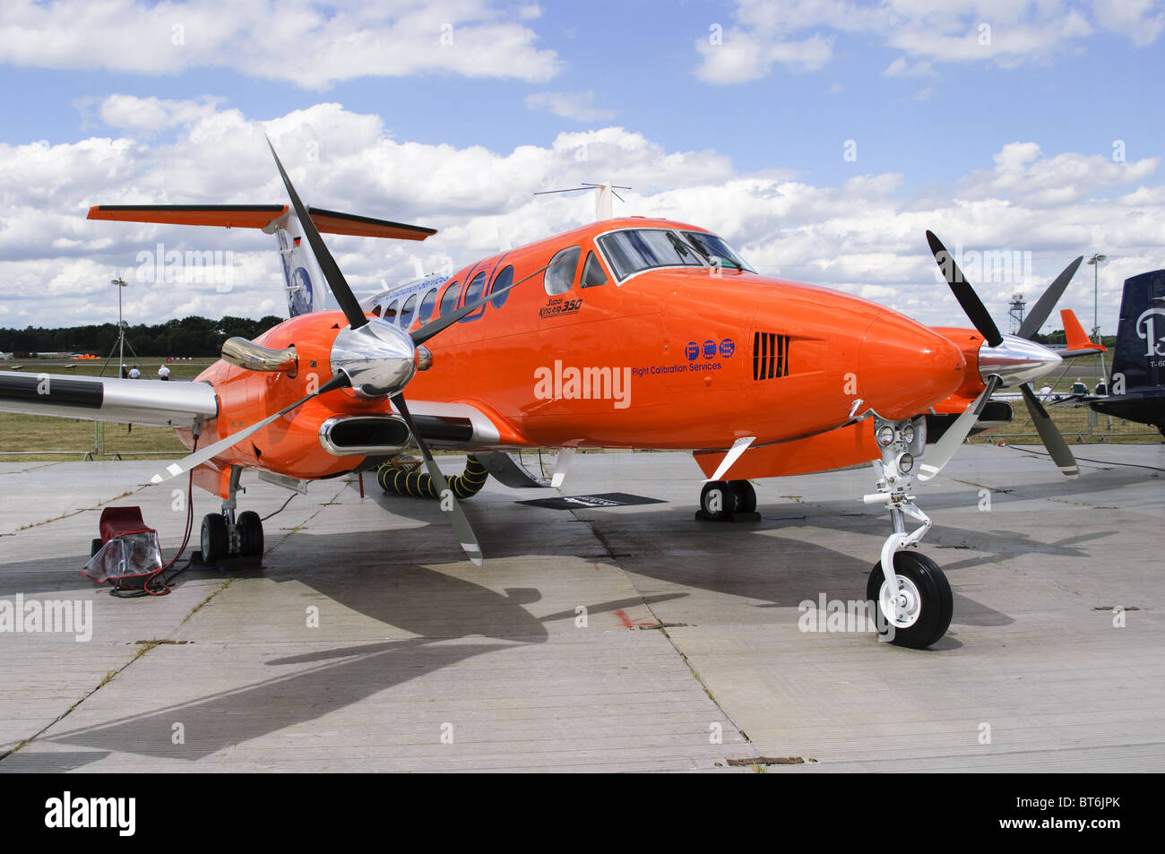Hawker Beechcraft 350 King Air (B300) operated by Flight Calibration Service on static display at Farnborough Airshow - Stock Image
