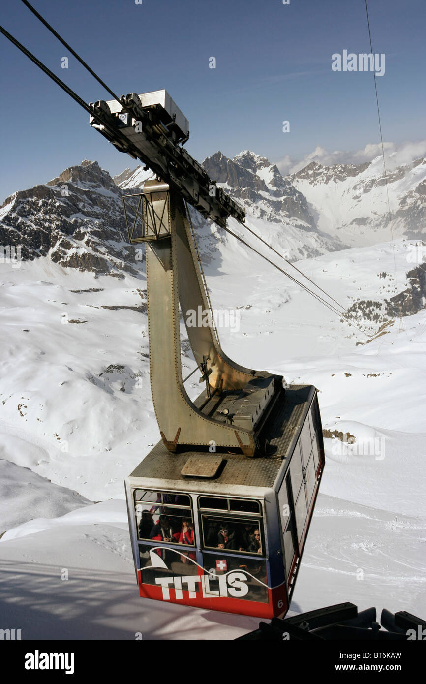 Cable car at Mount Titlis in Switzerland. Stock Photo