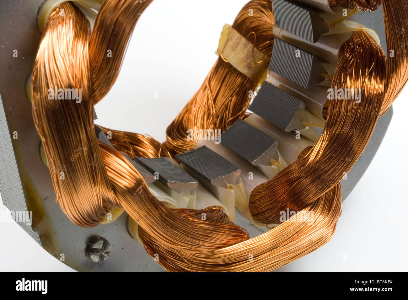 Copper Wire Coils in Electric Motor Stock Photo: 32109166 - Alamy