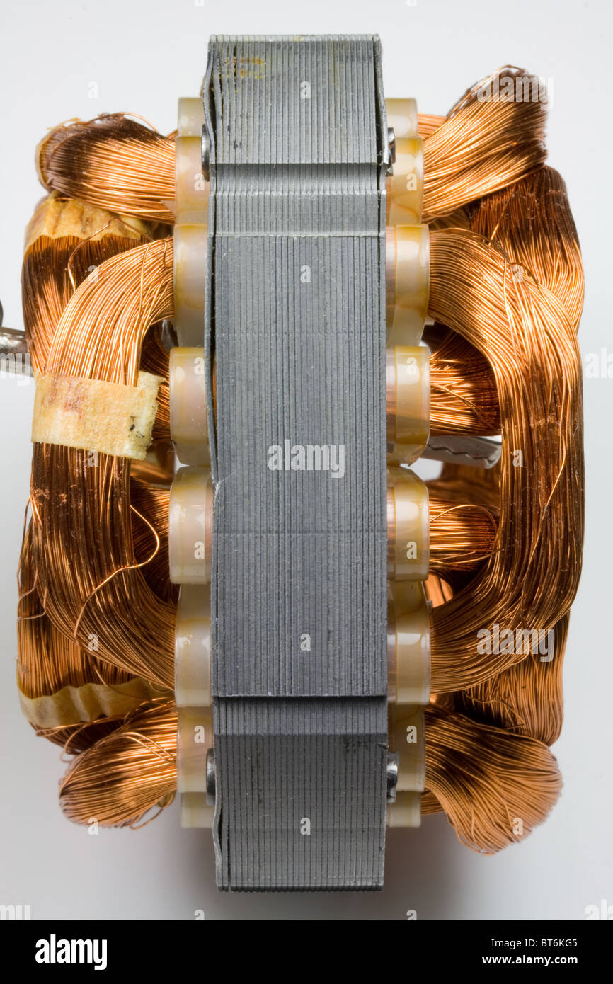 Copper Wire Coils in Electric Motor Stock Photo: 32109173 - Alamy