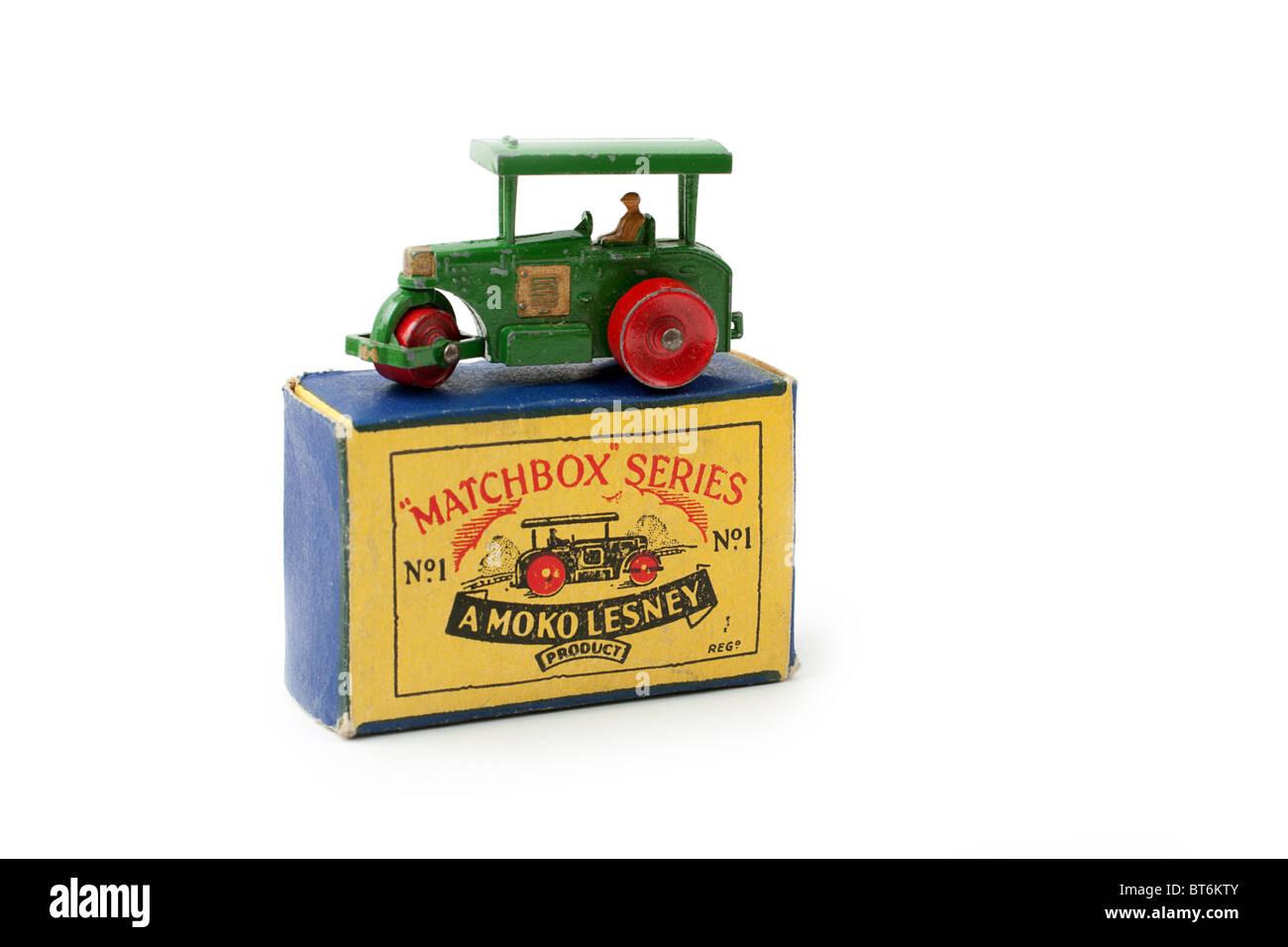 matchbox 1-75 die cast car, mint in box,steamroller - Stock Image