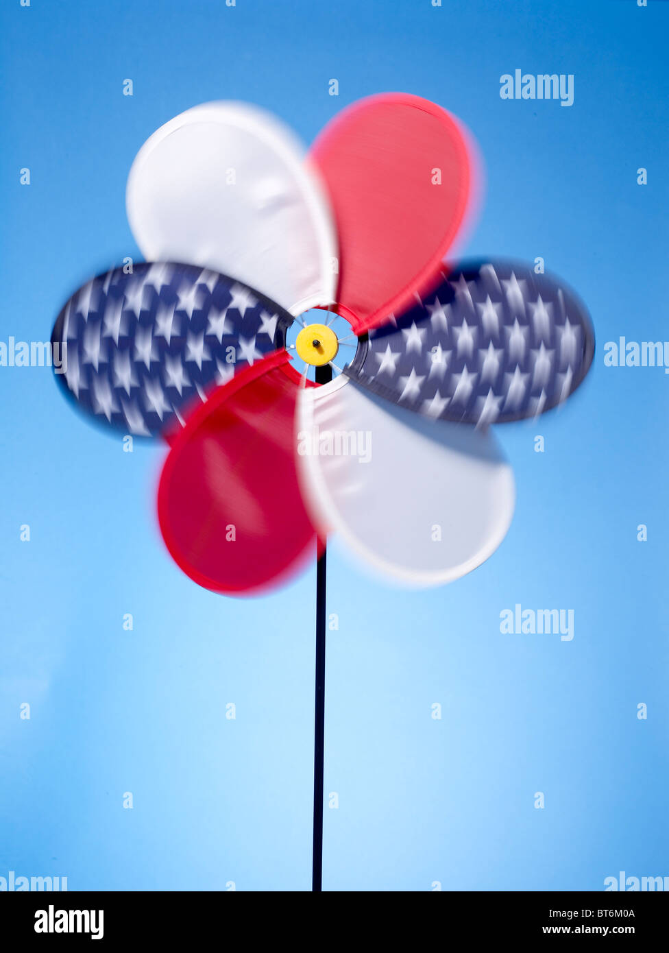 red white blue pinwheel vertical - Stock Image