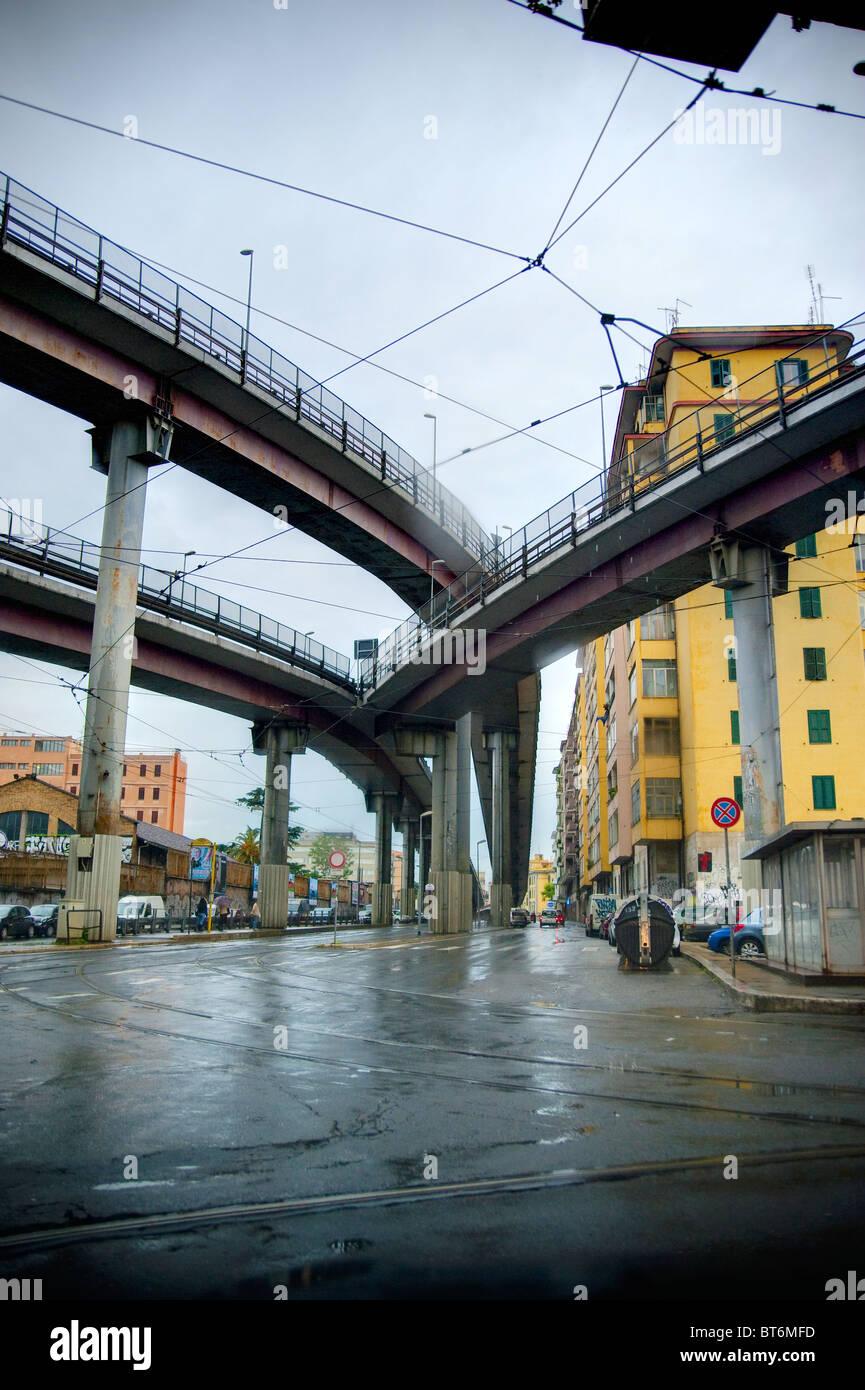 Via Prenestina underneath highway Tangenziale Est in Rome Italy - Stock Image