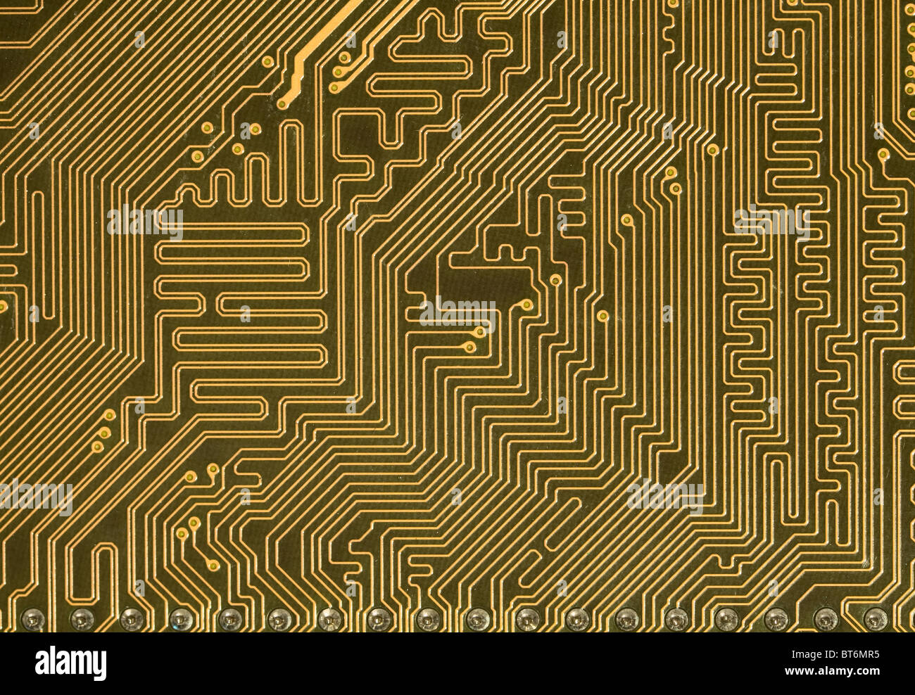 Close Up Green Circuit Board Background In Hi Tech Style   Stock Image