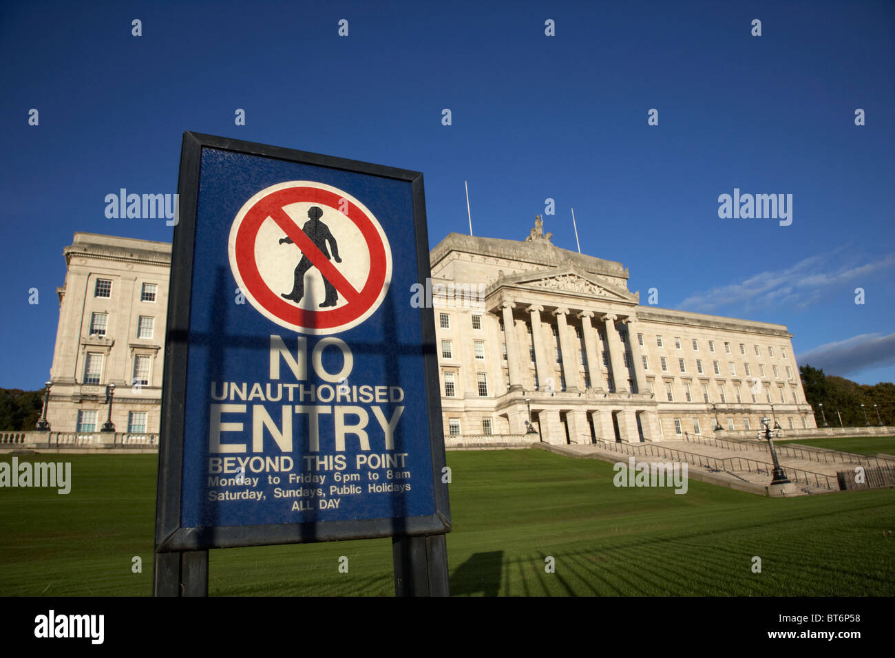 no entry warning sign outside northern ireland parliament buildings stormont belfast northern ireland uk - Stock Image