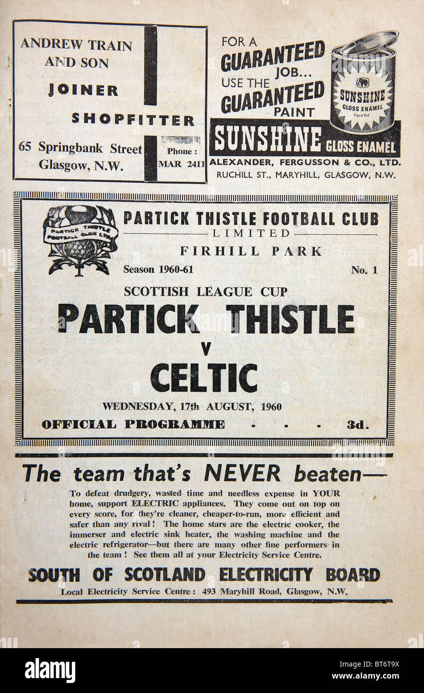Football programme for a football match between Partick Thistle v Celtic on Wednesday 17 August 1960 - Stock Image