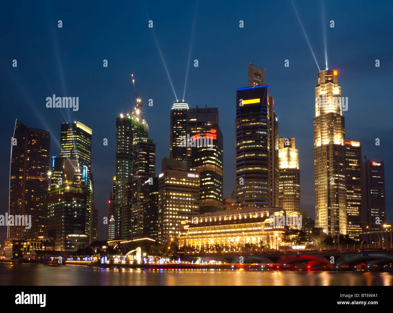 Singapore skyline at night, seen from the Esplanade Stock Photo