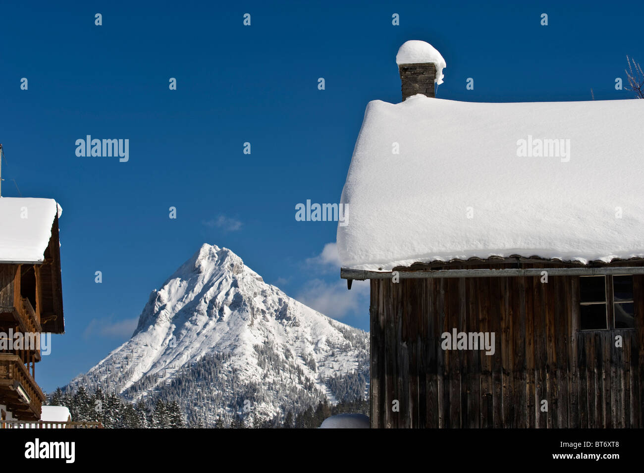 Mt Guffert, seen from Achenkirch Leitn, alps, Tyrol, Austria Stock Photo