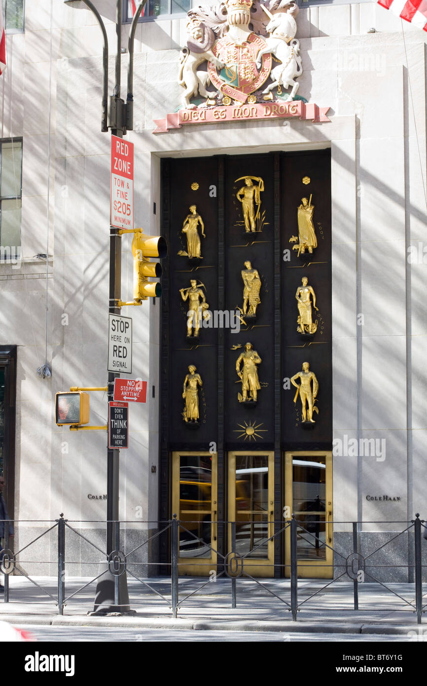 The Main Entrance to the British Commonwealth Industry Building at the Rockefella Center in New York City - Stock Image