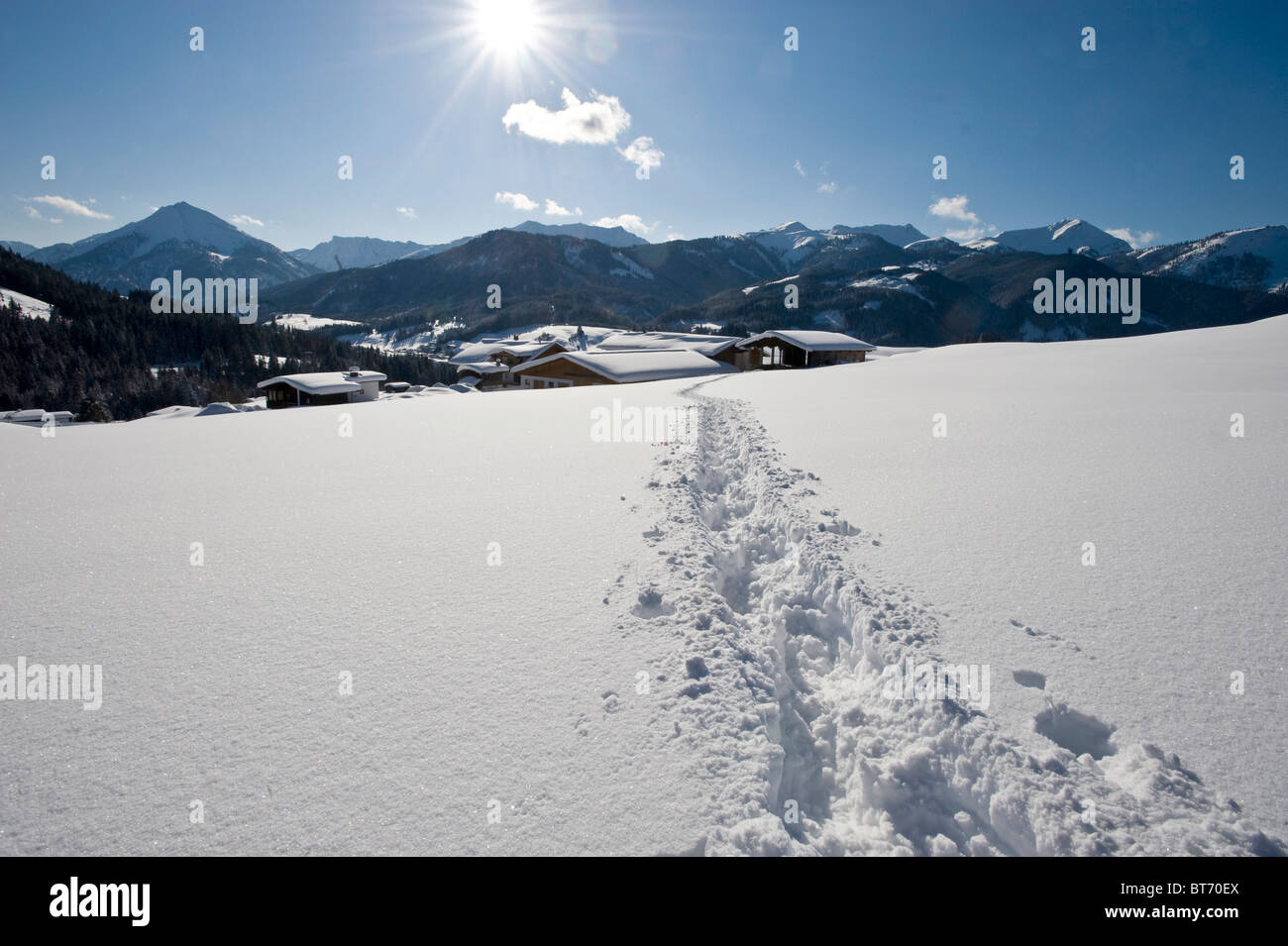 Tracks in a winter landscape, Achenkirch, Tyrol, Austria - Stock Image