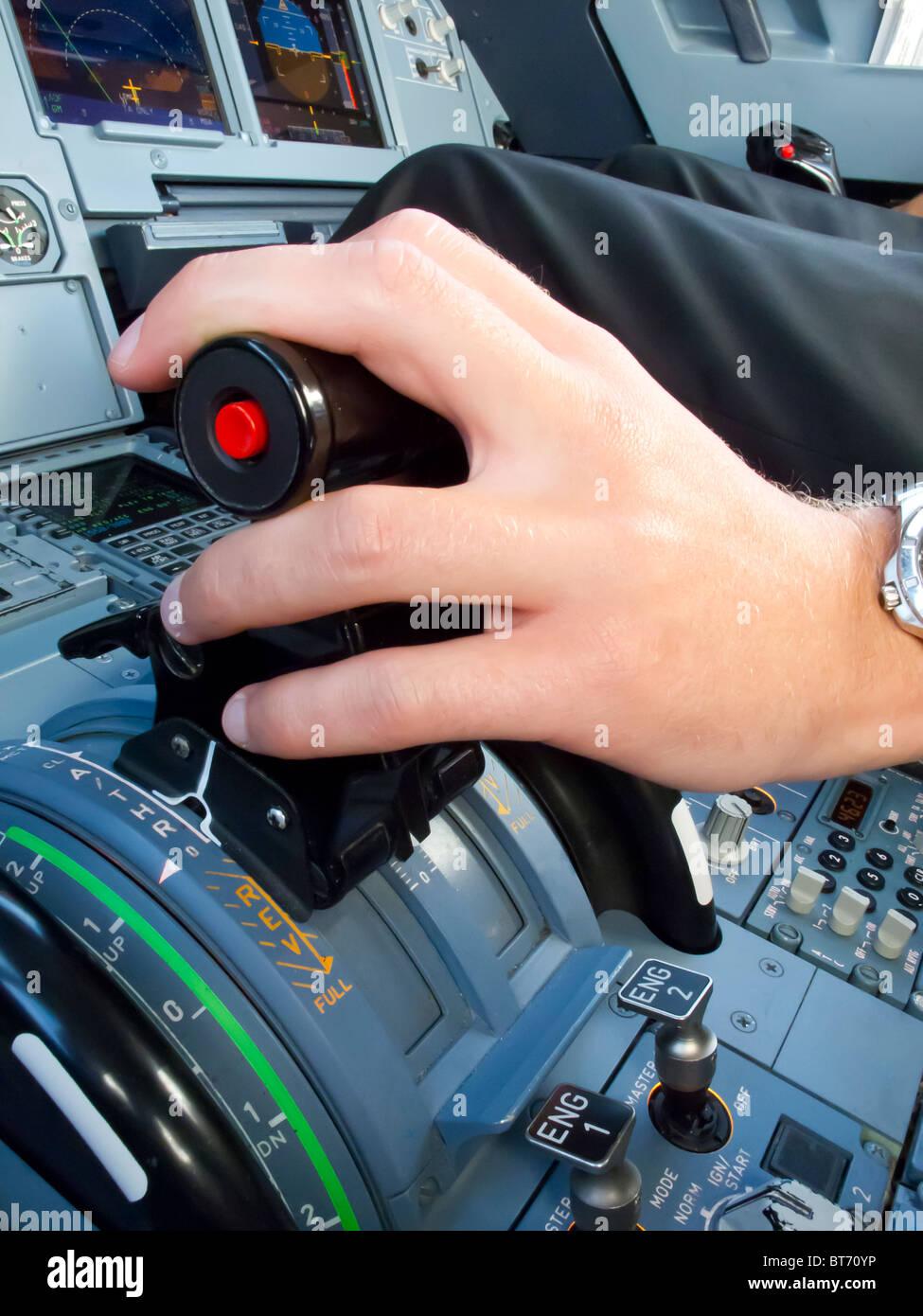 Thrust lever - Airbus - Stock Image