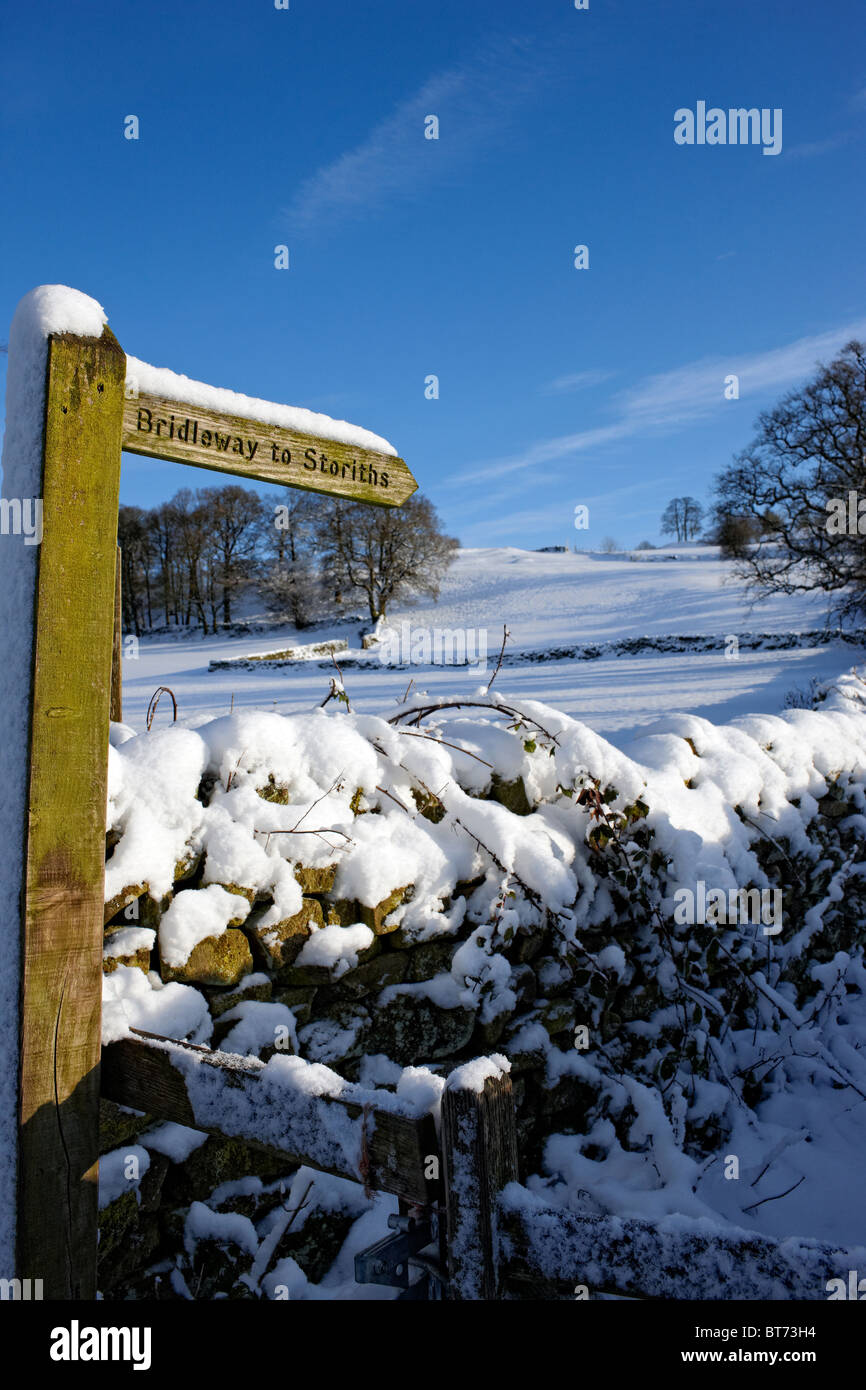 Bridleway sign to Storiths near Bolton Abbey, North Yorkshire. Winter - Stock Image