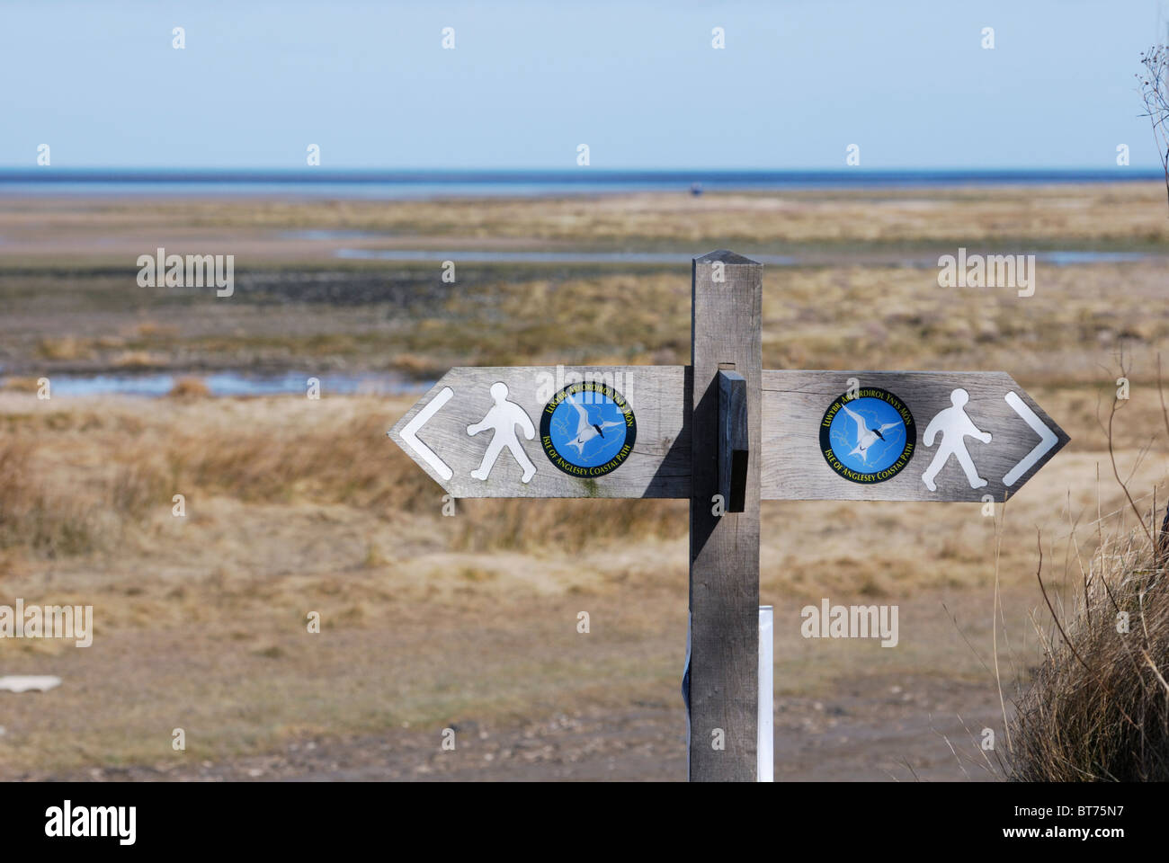 Anglesey Coastal Path sign at Red Wharf Bay, Anglesey, North Wales Stock Photo