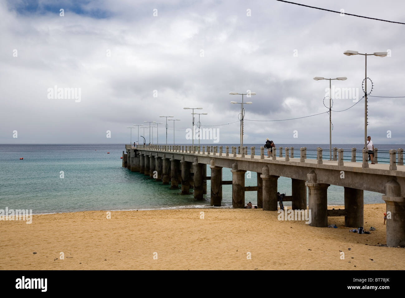 Beach and Pier at Vila Baleira - Porto Santo - Stock Image